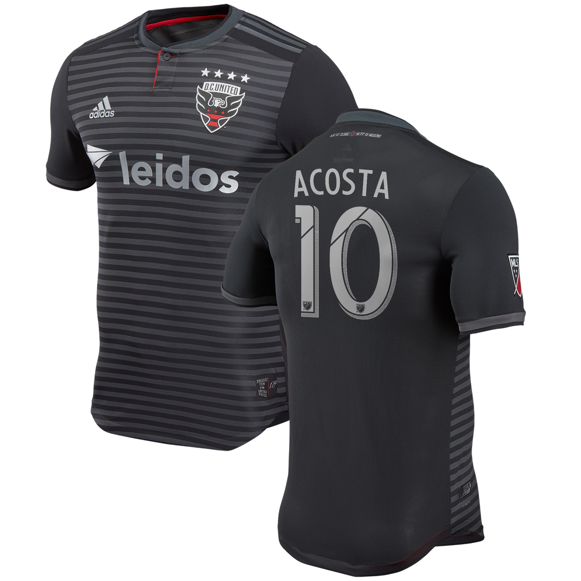 DC United Authentic Home Shirt 2018 with Acosta 10 printing