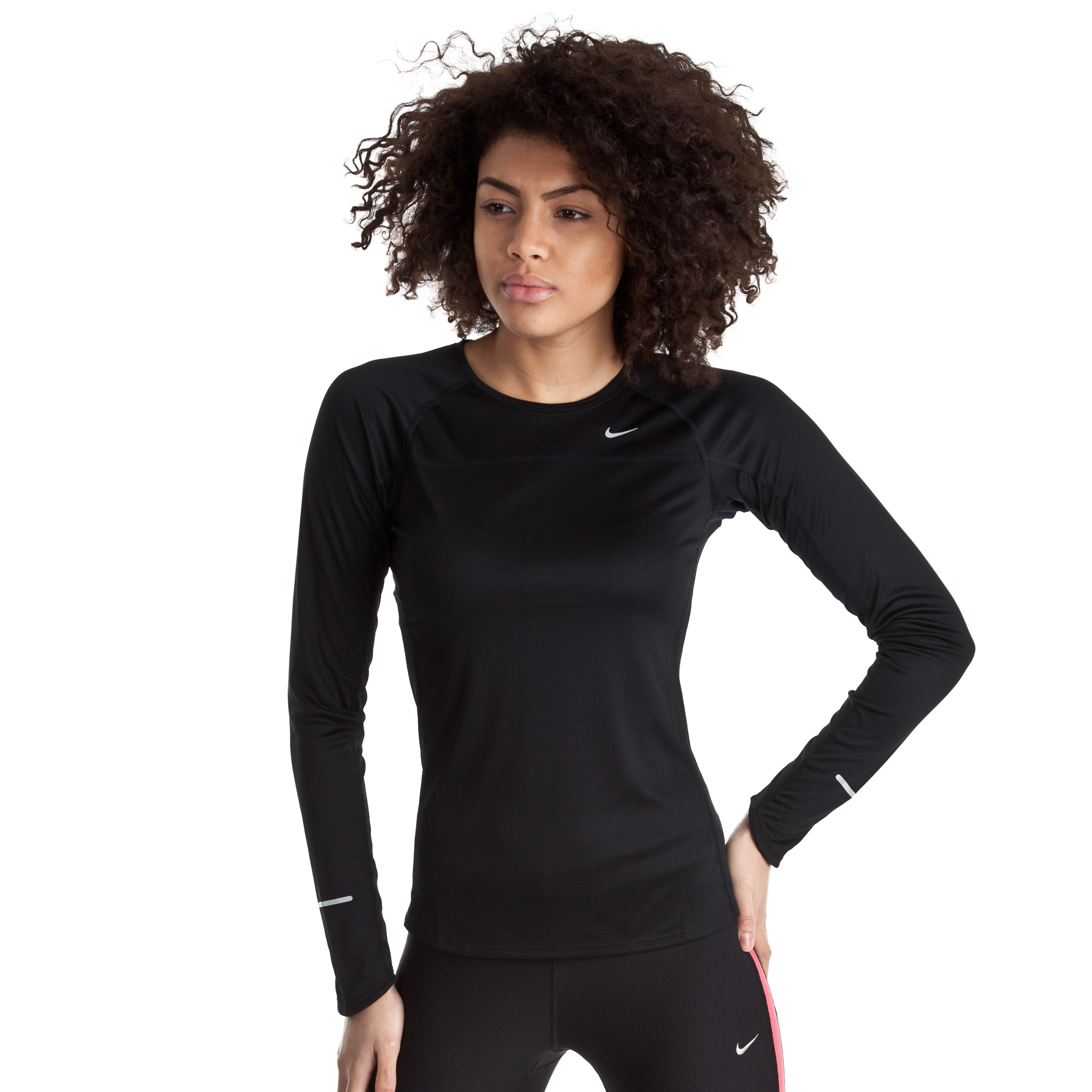 Nike Miler T-Shirt - Black/Reflective Silver - Long Sleeve - Womens