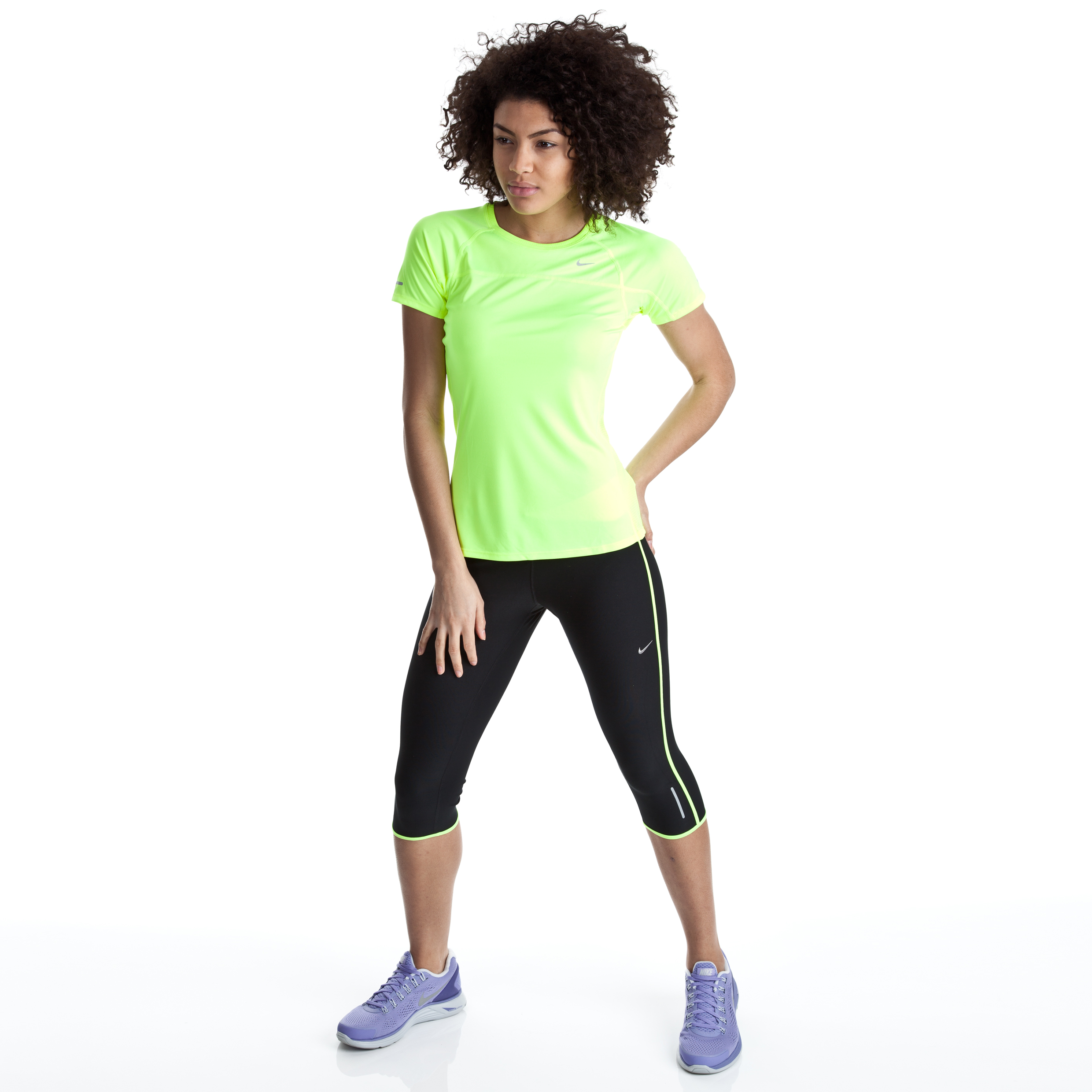 Nike Twisted Capri 3/4 Pants - Black/Night Blue/Volt/Matte Silver - Womens