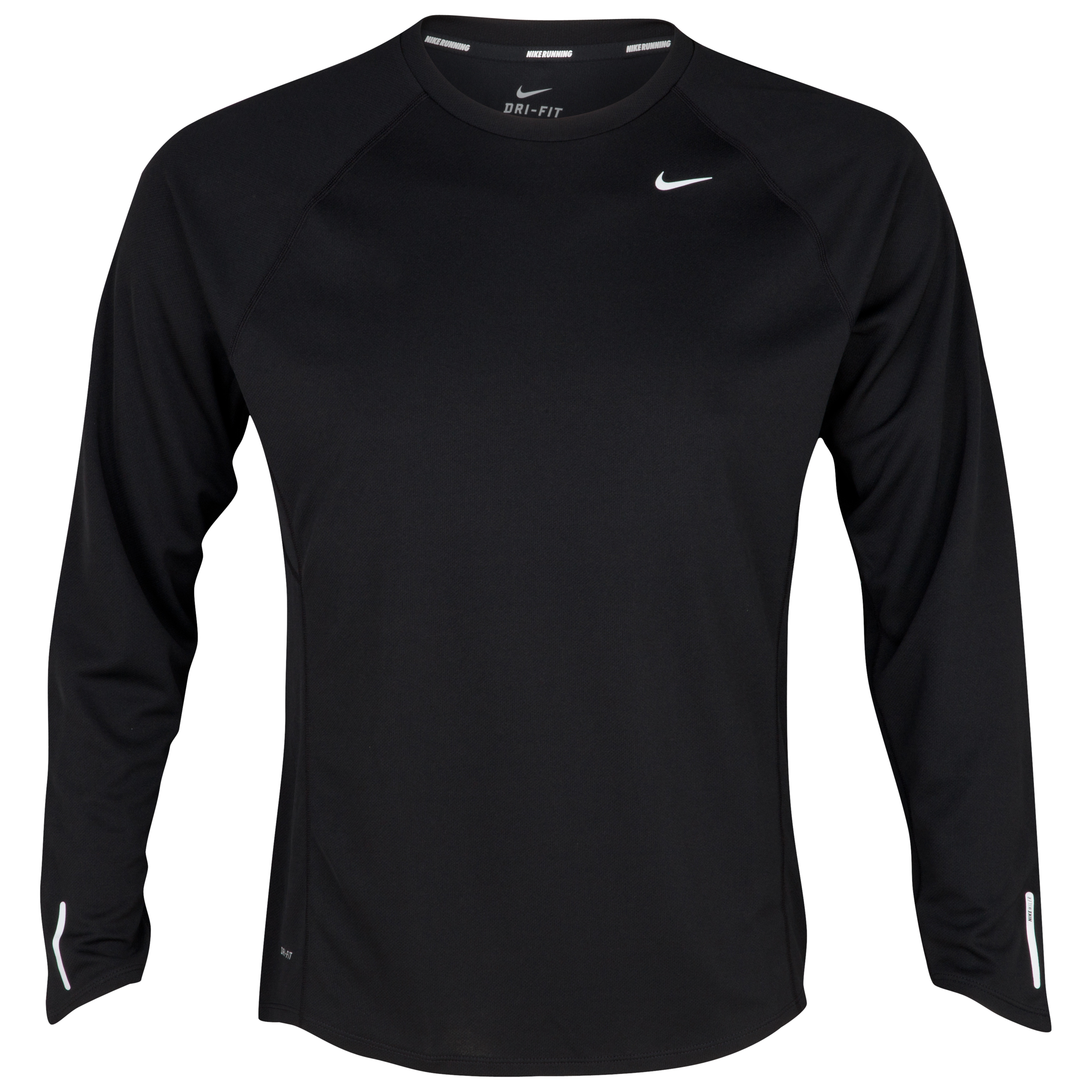 Nike Miler UV Team T-Shirt - Black/Reflective Silver - Long Sleeve