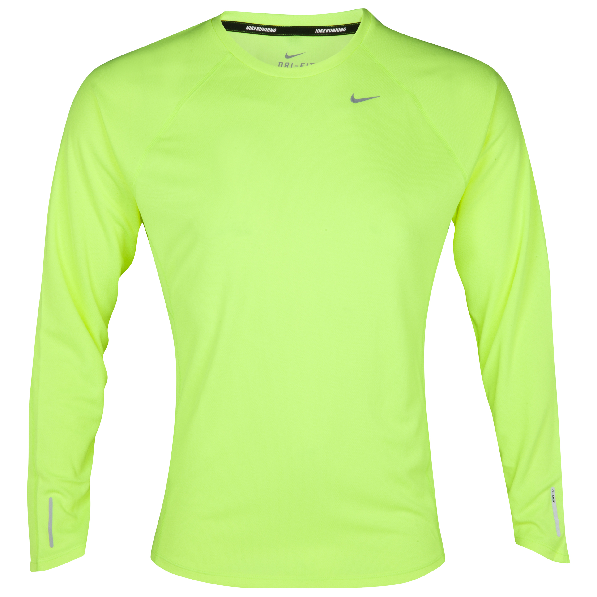Nike Miler UV Team T-Shirt - Volt/Reflective Silver - Long Sleeve