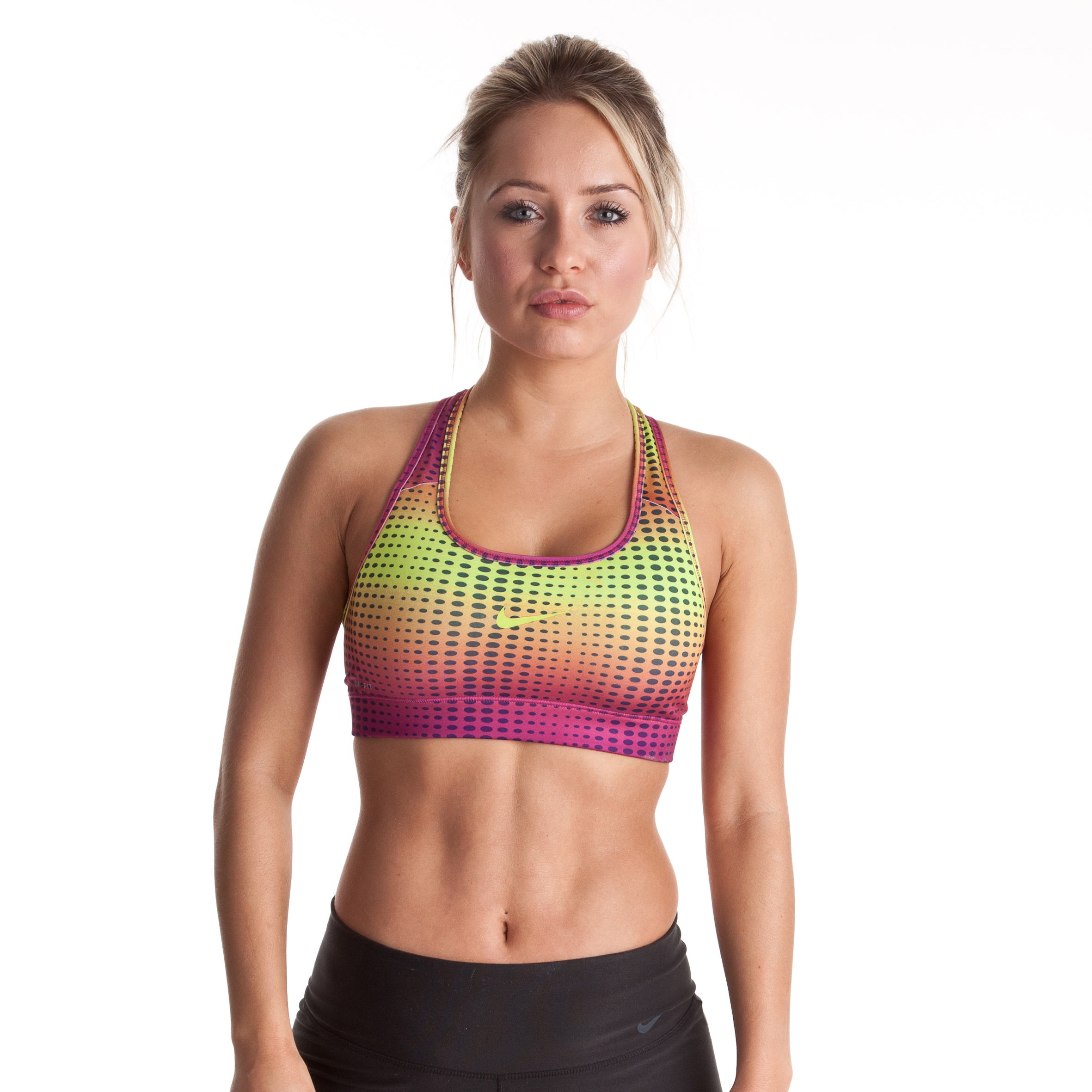 Nike Pro Bra - Atomic Green/Rave Pink/Atomic Green - Womens
