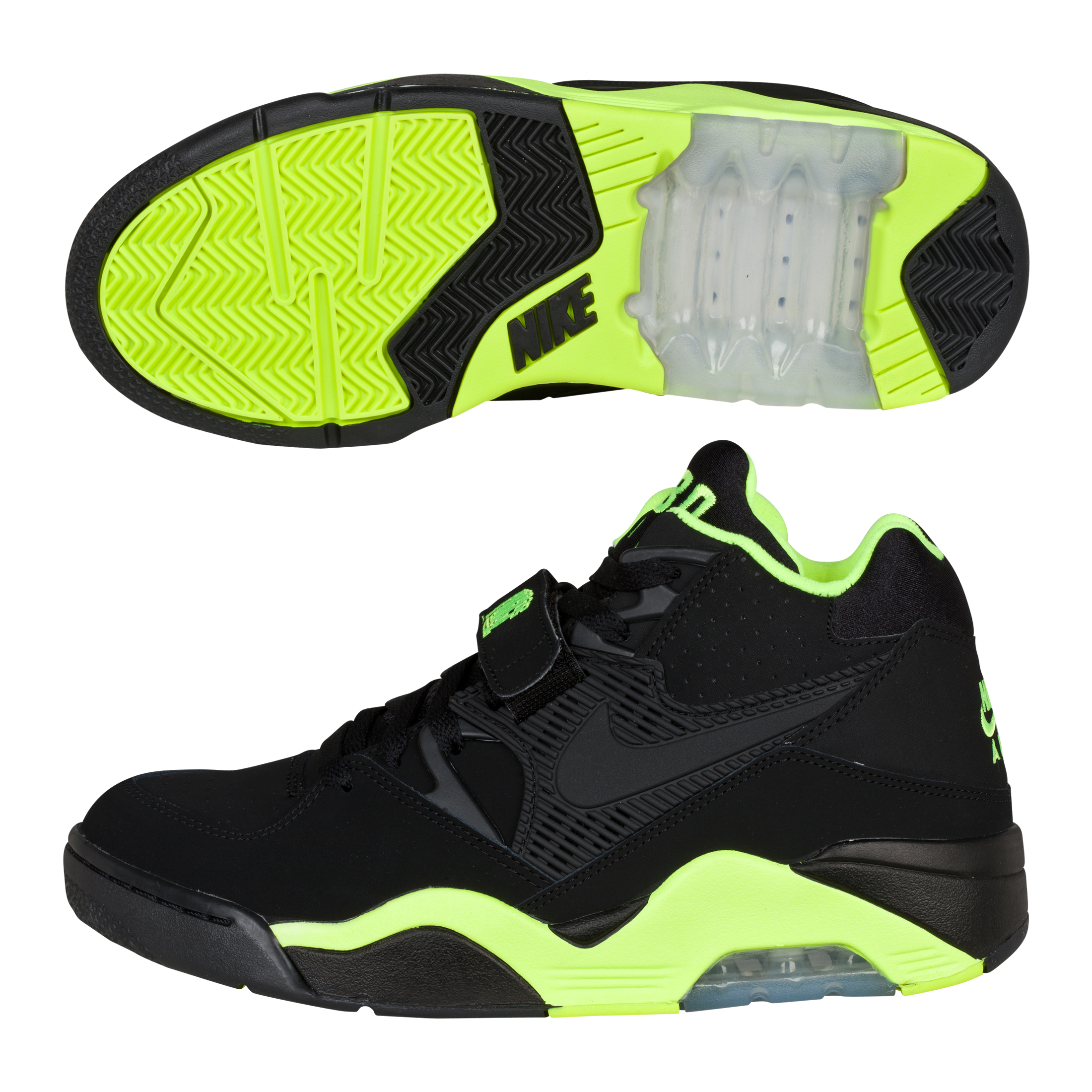 Nike Air Force 180 Trainers - Black/Black/Volt