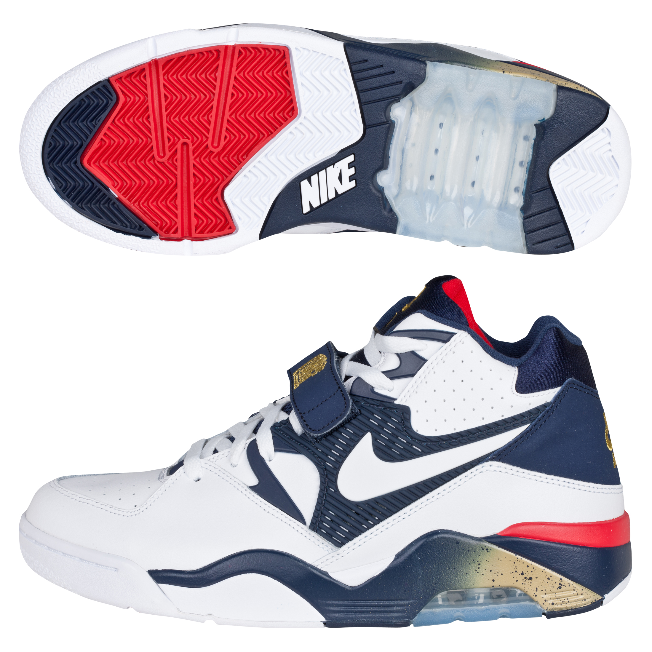 Nike Air Force 180 Trainers - White/White/Midnight Navy/Metallic Gold