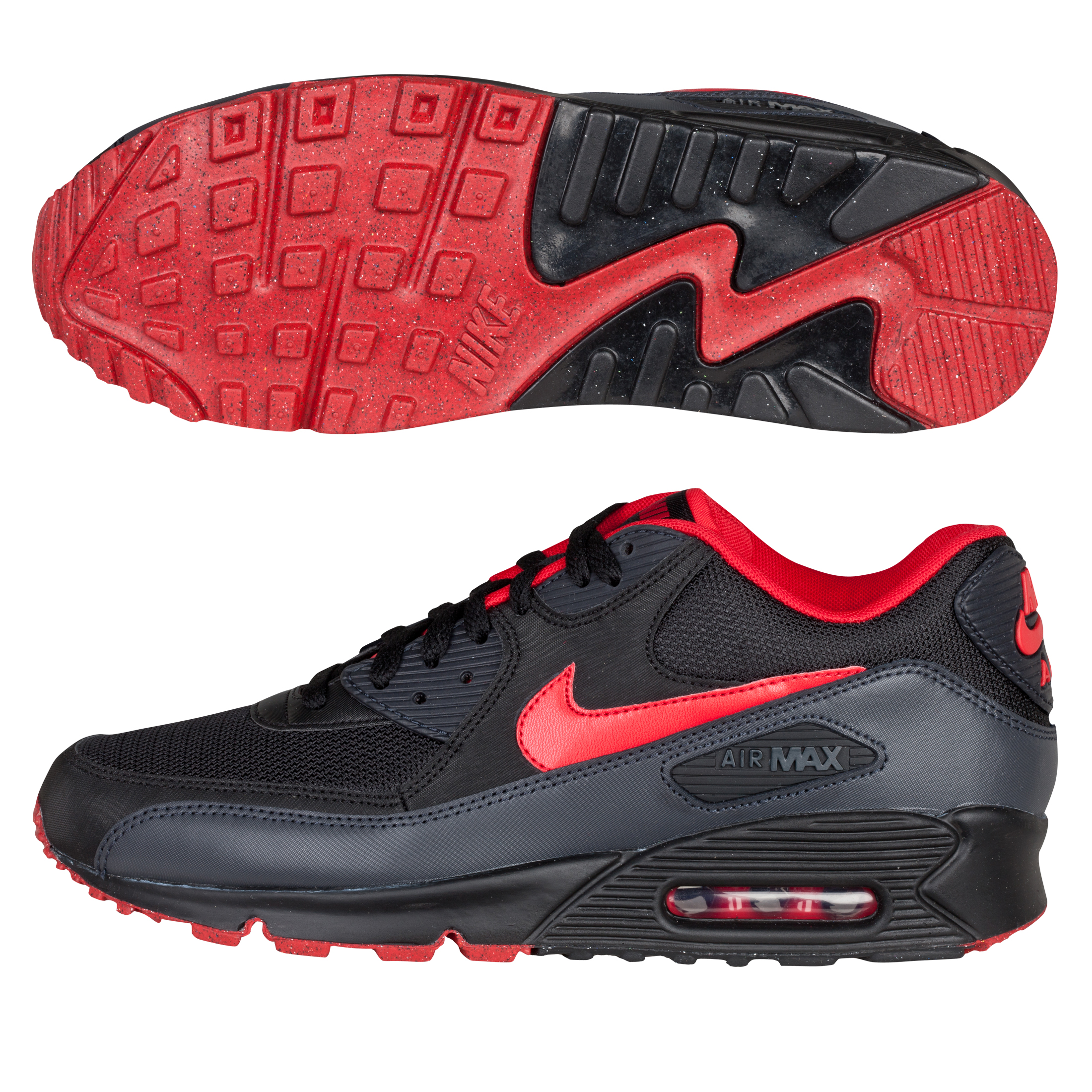 Nike Air Max 90 inch08 Trainers - Black/University Red/Anthracite/Natural Grey
