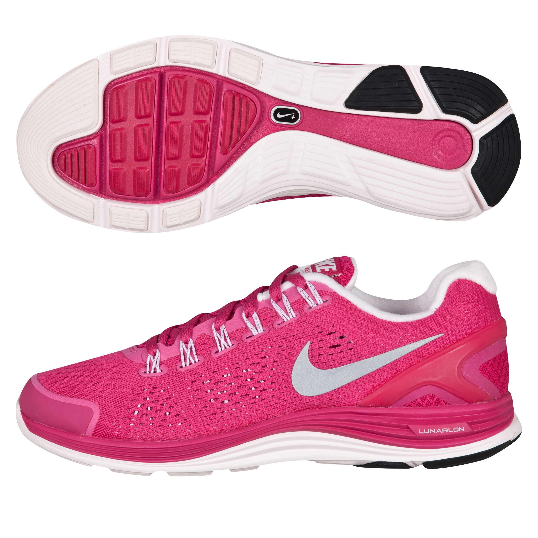 Nike Lunarglide+ 4 Trainers - Fireberry/Silver/Pink - Womens