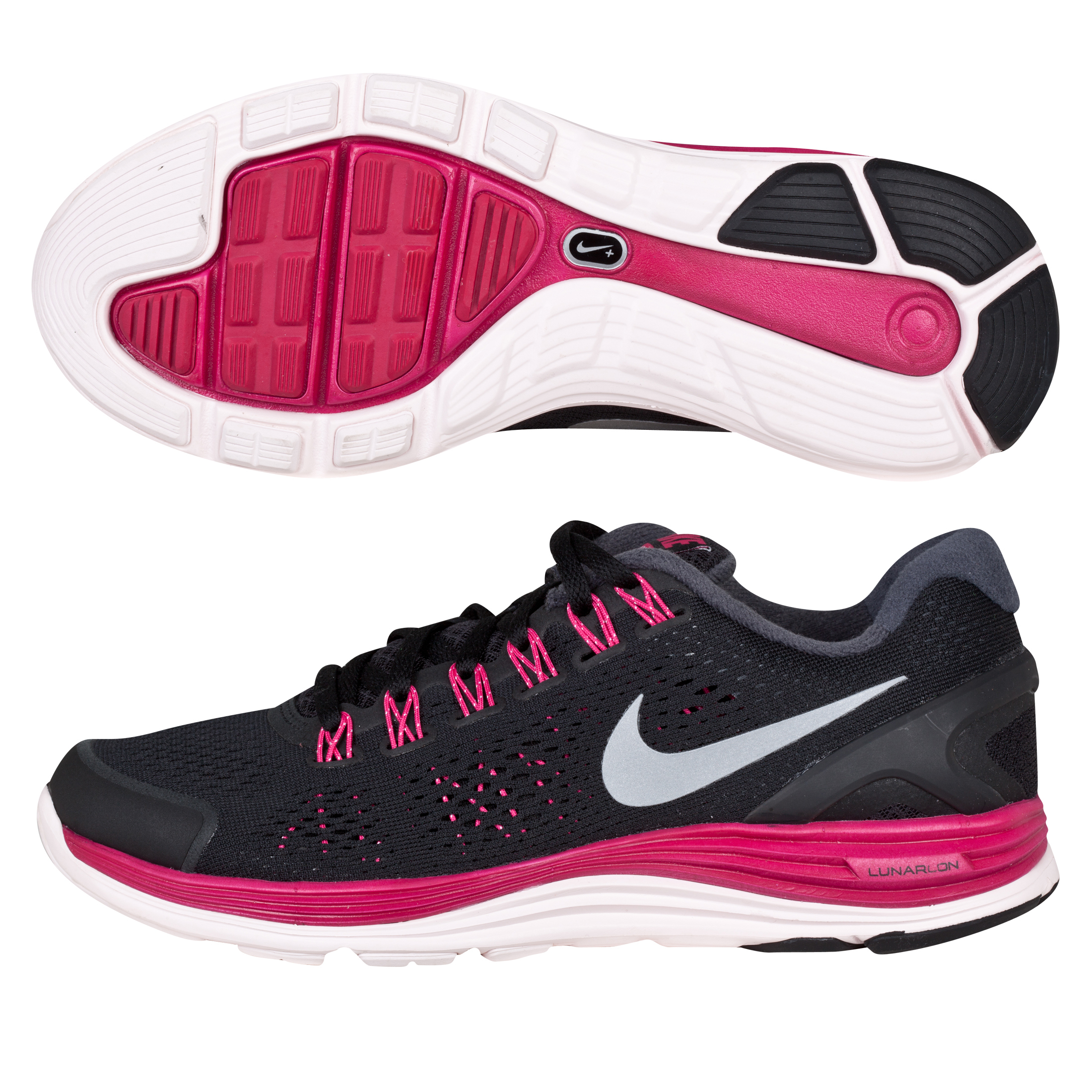 Nike Lunarglide+ 4 Trainers - Black/Silver/Fireberry/Pink - Womens