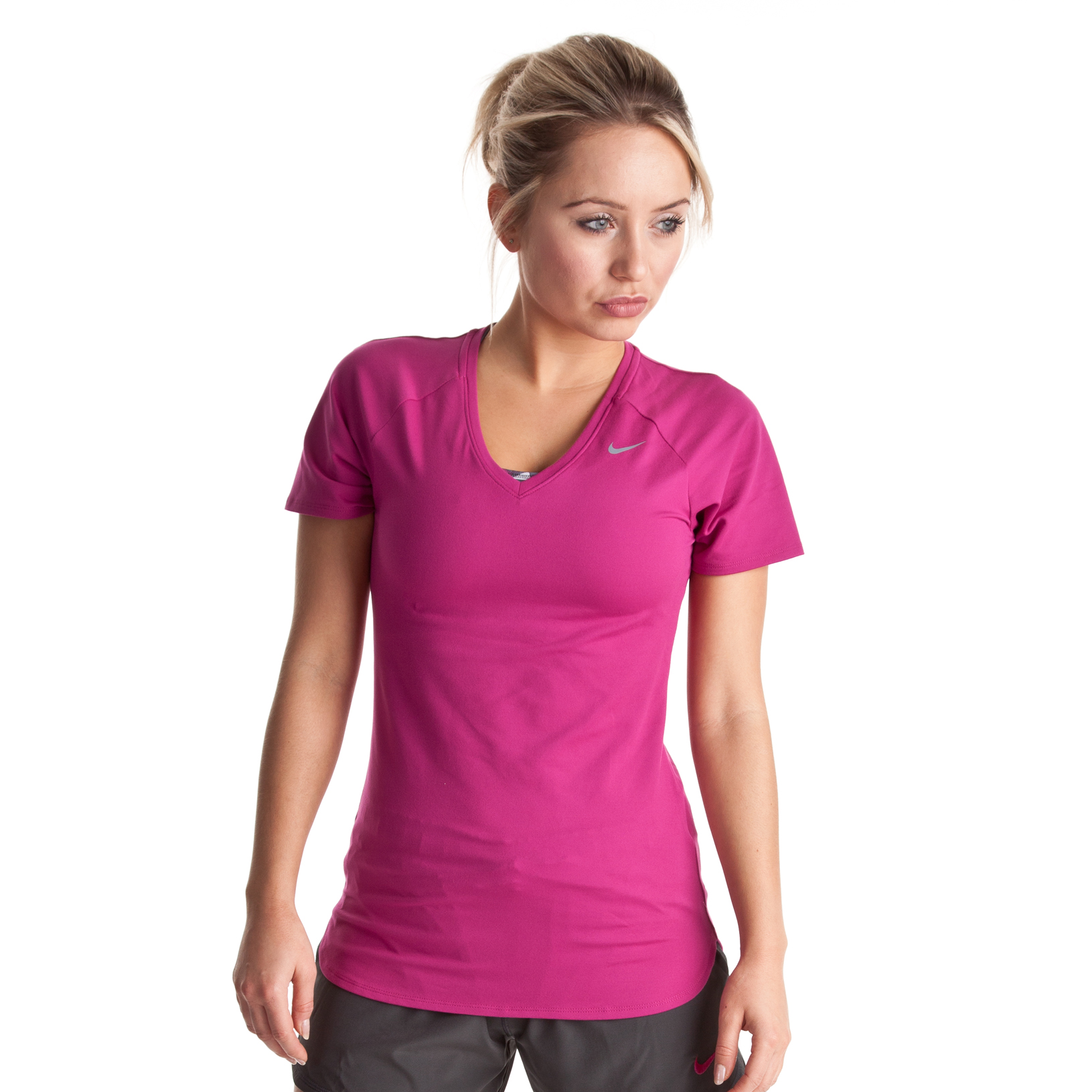 Nike Regular Club Short Sleeve Baselayer - Rave Pink/Cool Grey - Womens
