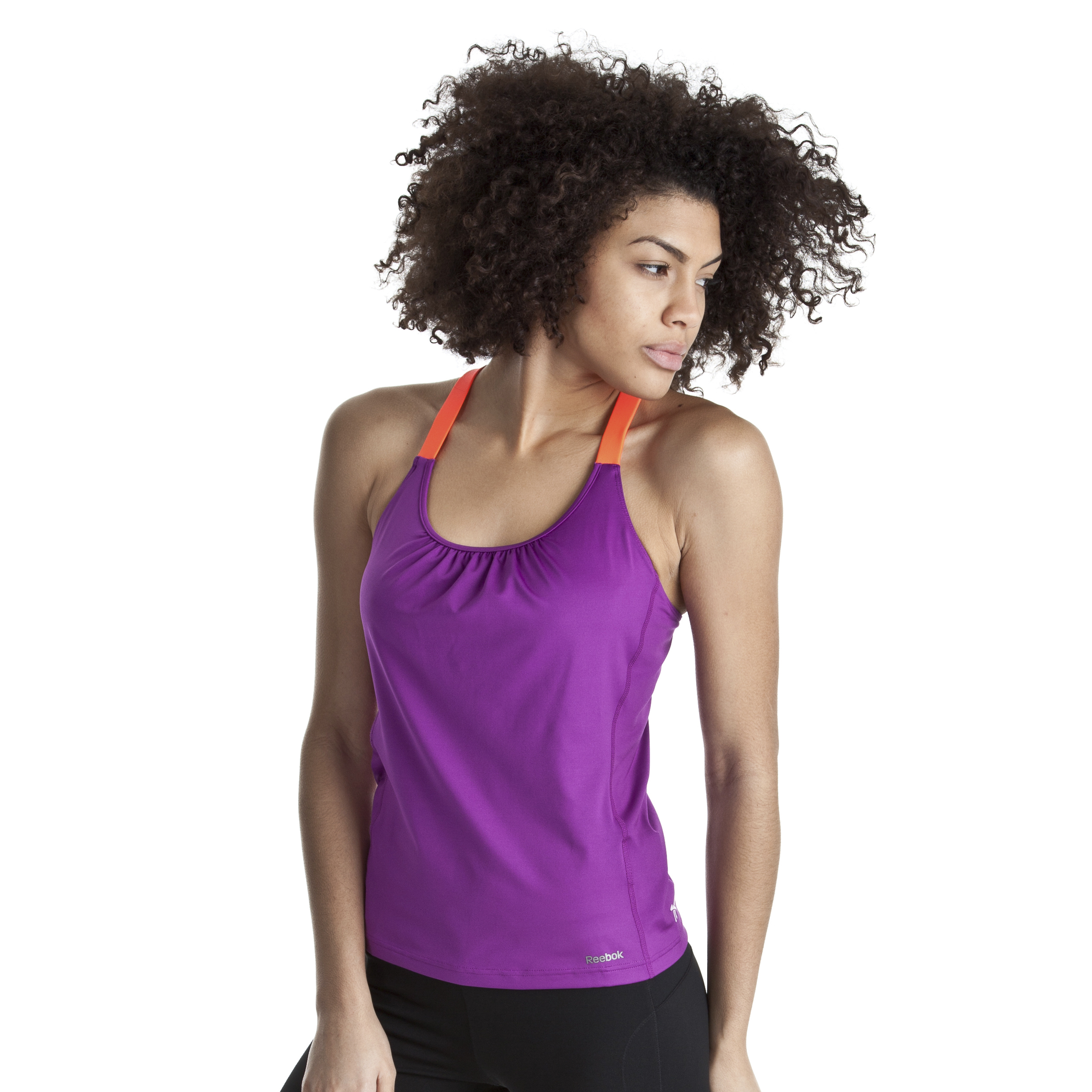 Reebok Strappy Long Bra Top With Rushing - Aubergine/Vitamin C - Women