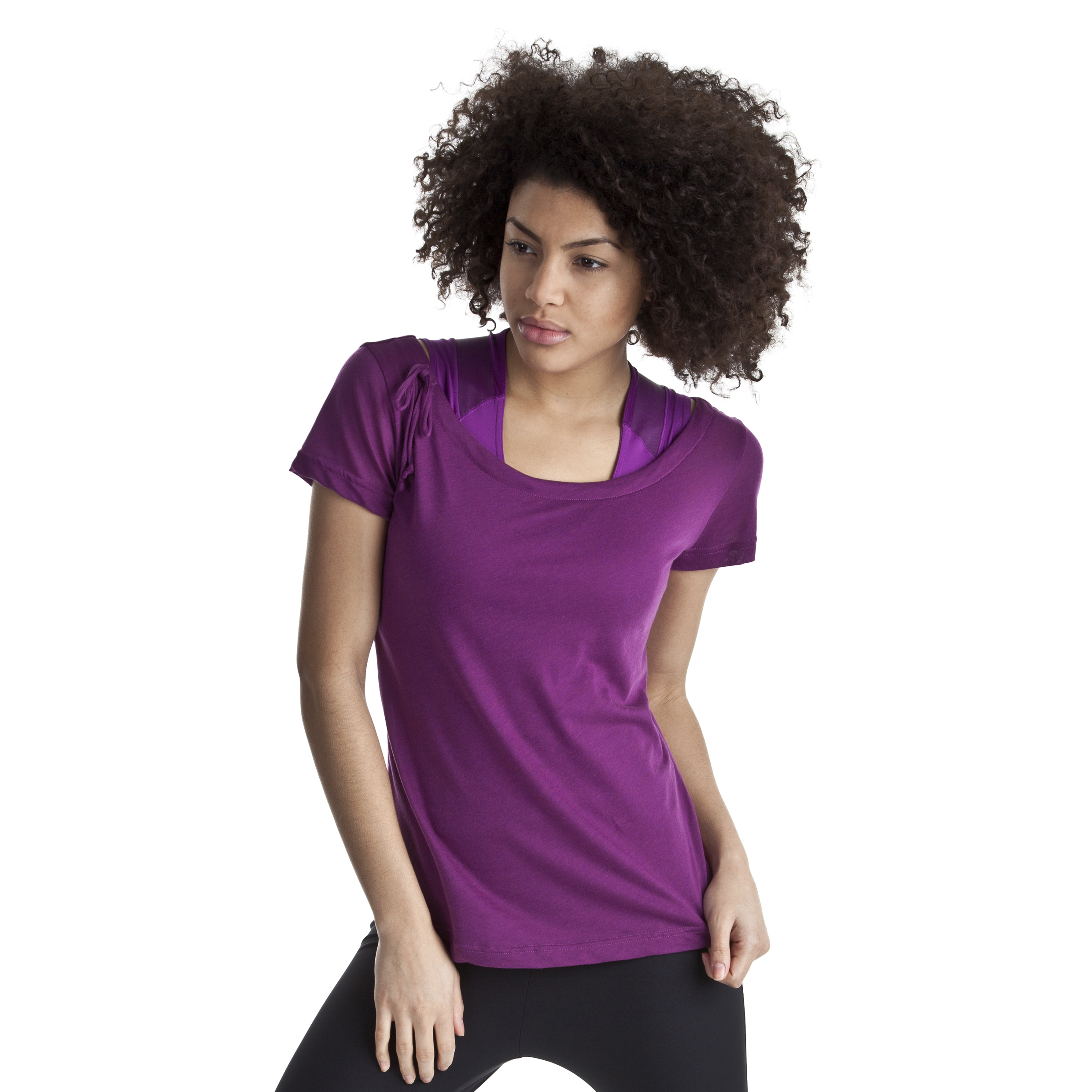Reebok EasyTone Dbl Layer Short Sleev Top - Aubergine - Women