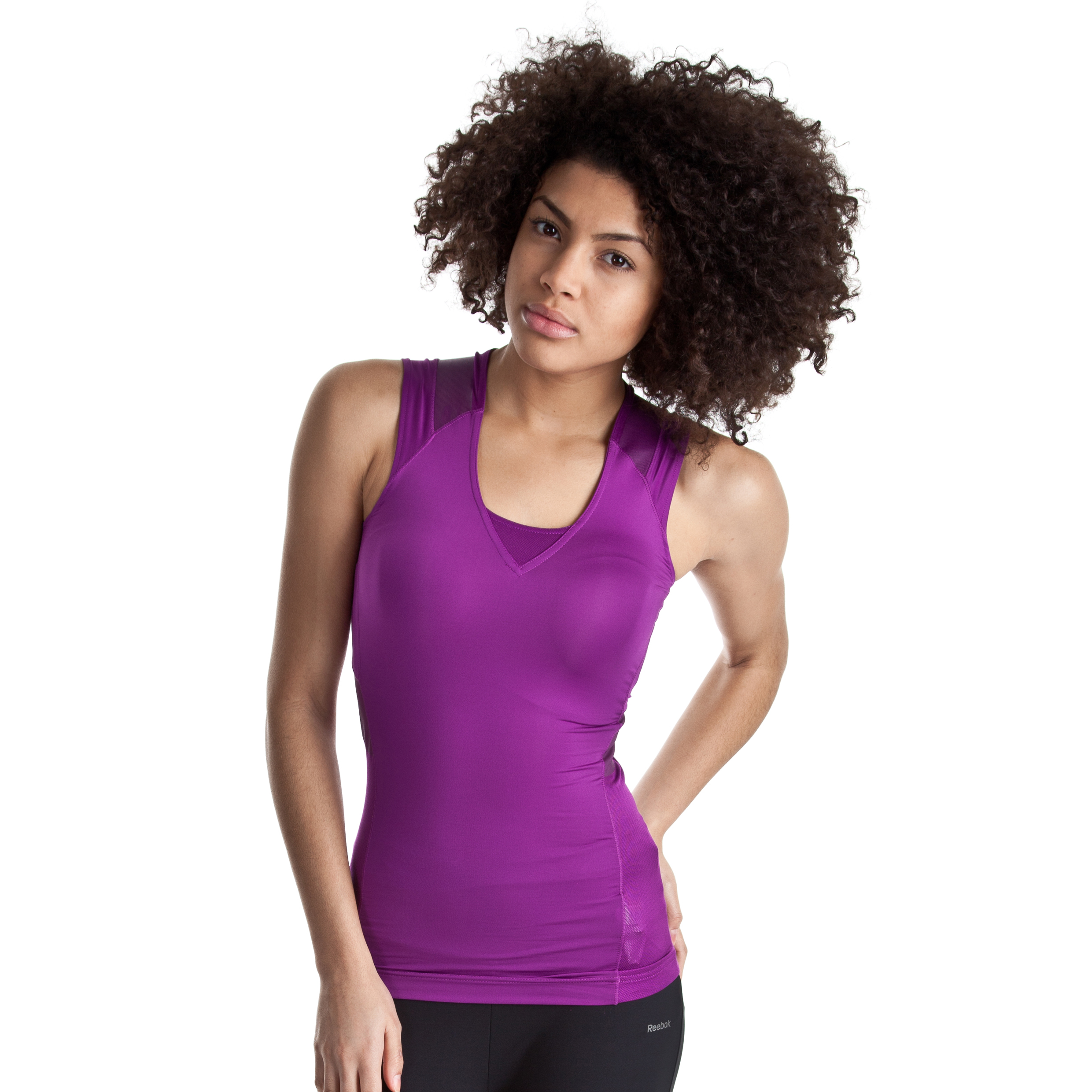 Reebok EasyTone Cotton V-Neck Tank - Aubergine - Women