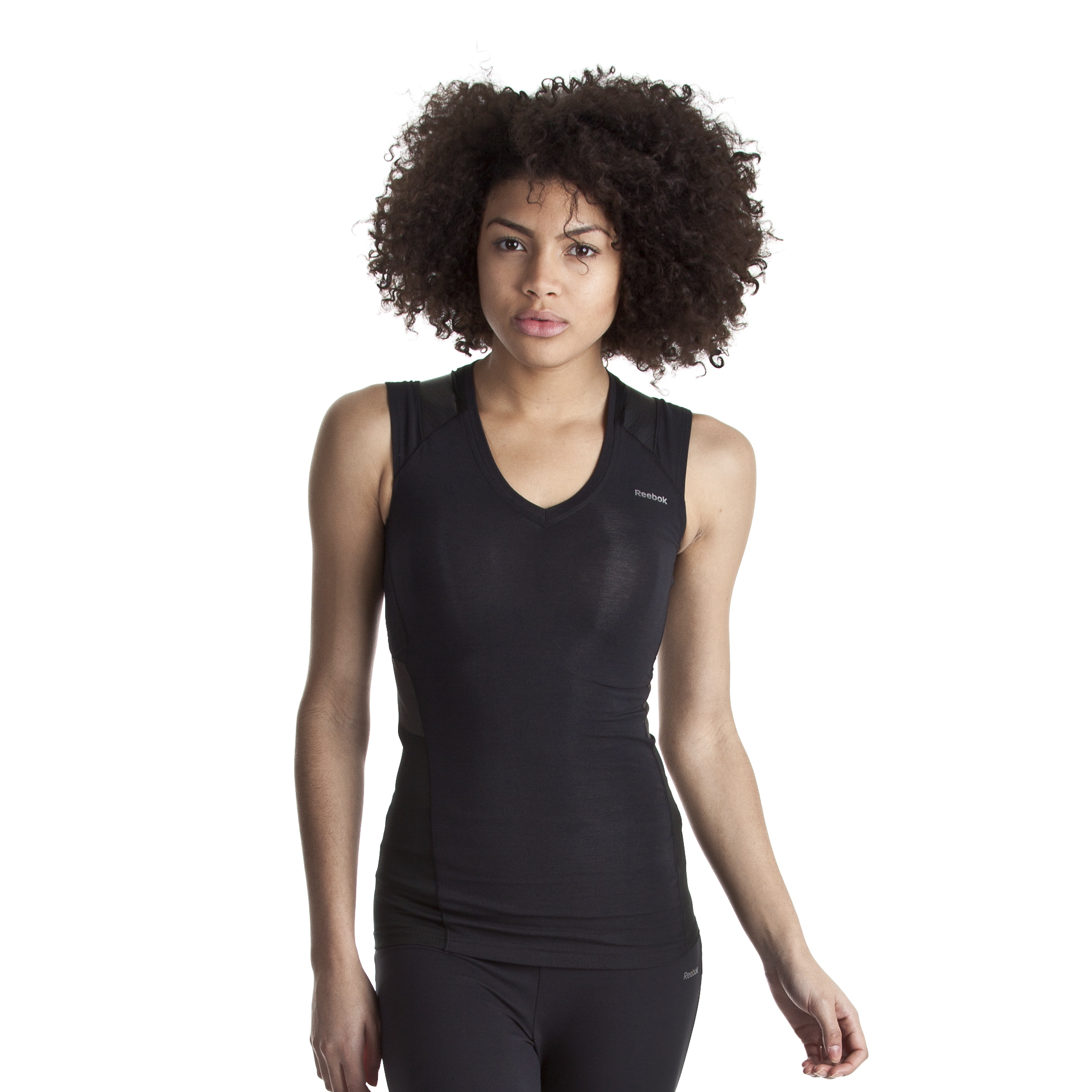 Reebok EasyTone Cotton V-Neck Tank - Black - Women