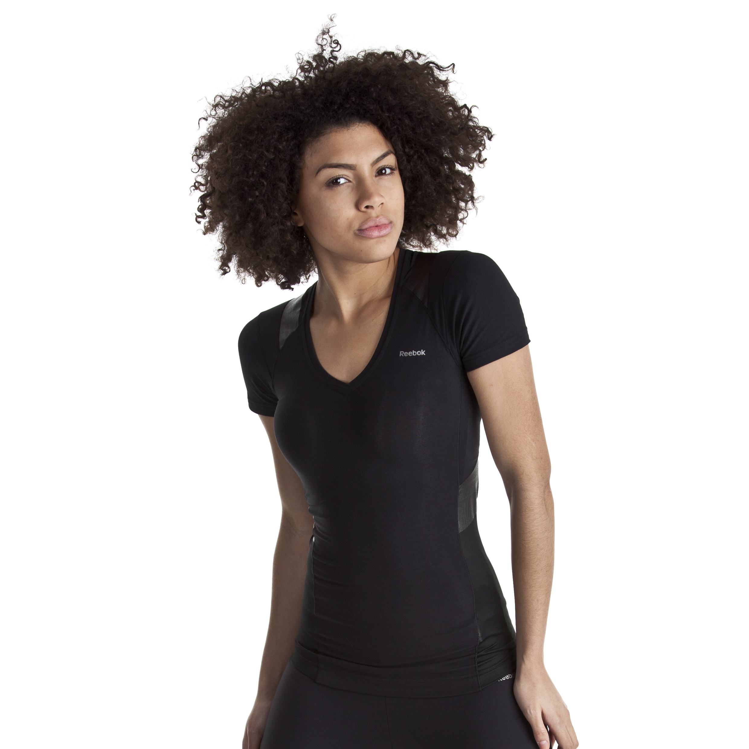 Reebok EasyTone Cotton V-Neck Tee - Black - Women