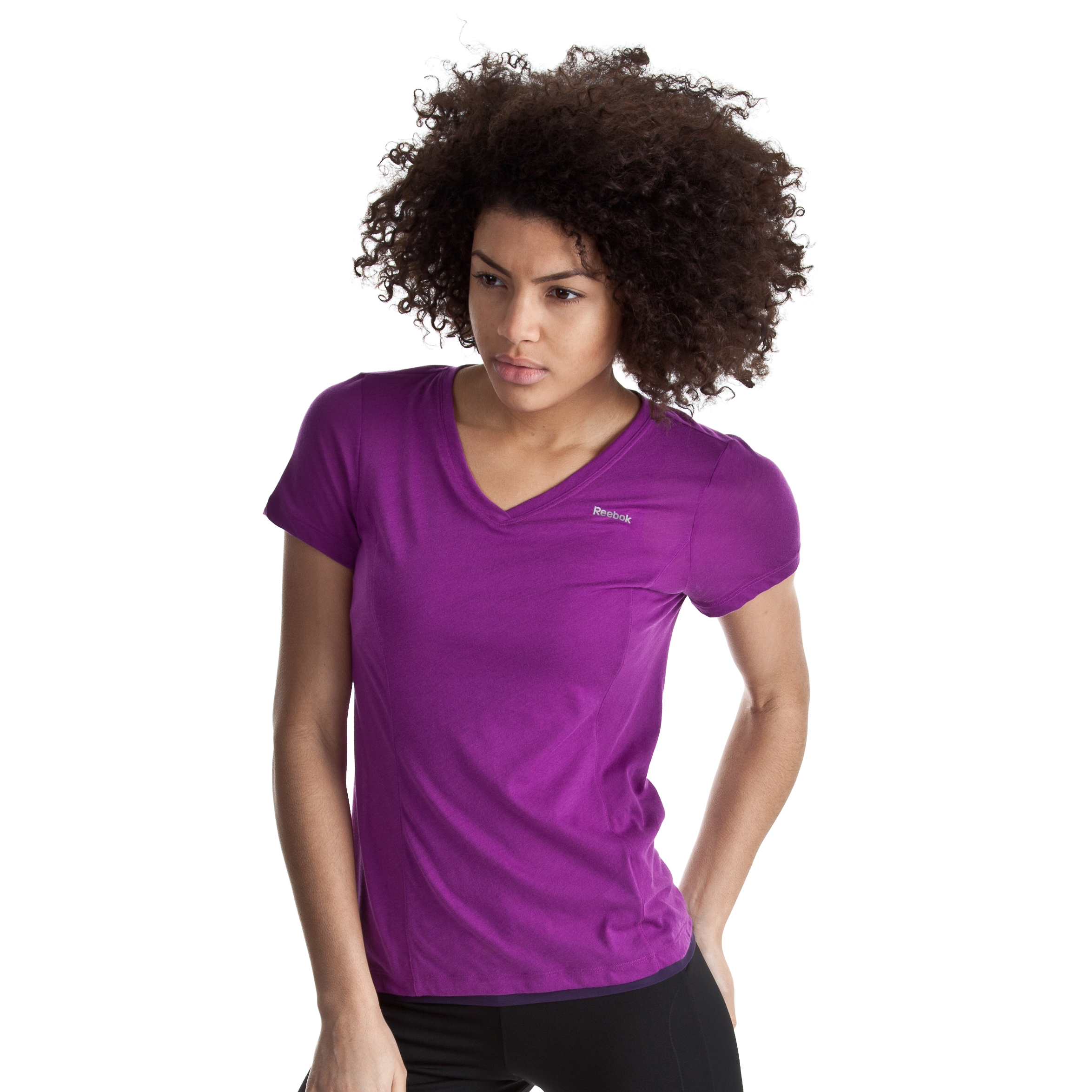 Reebok Double Layer Shapewear Tee - Aubergine - Women