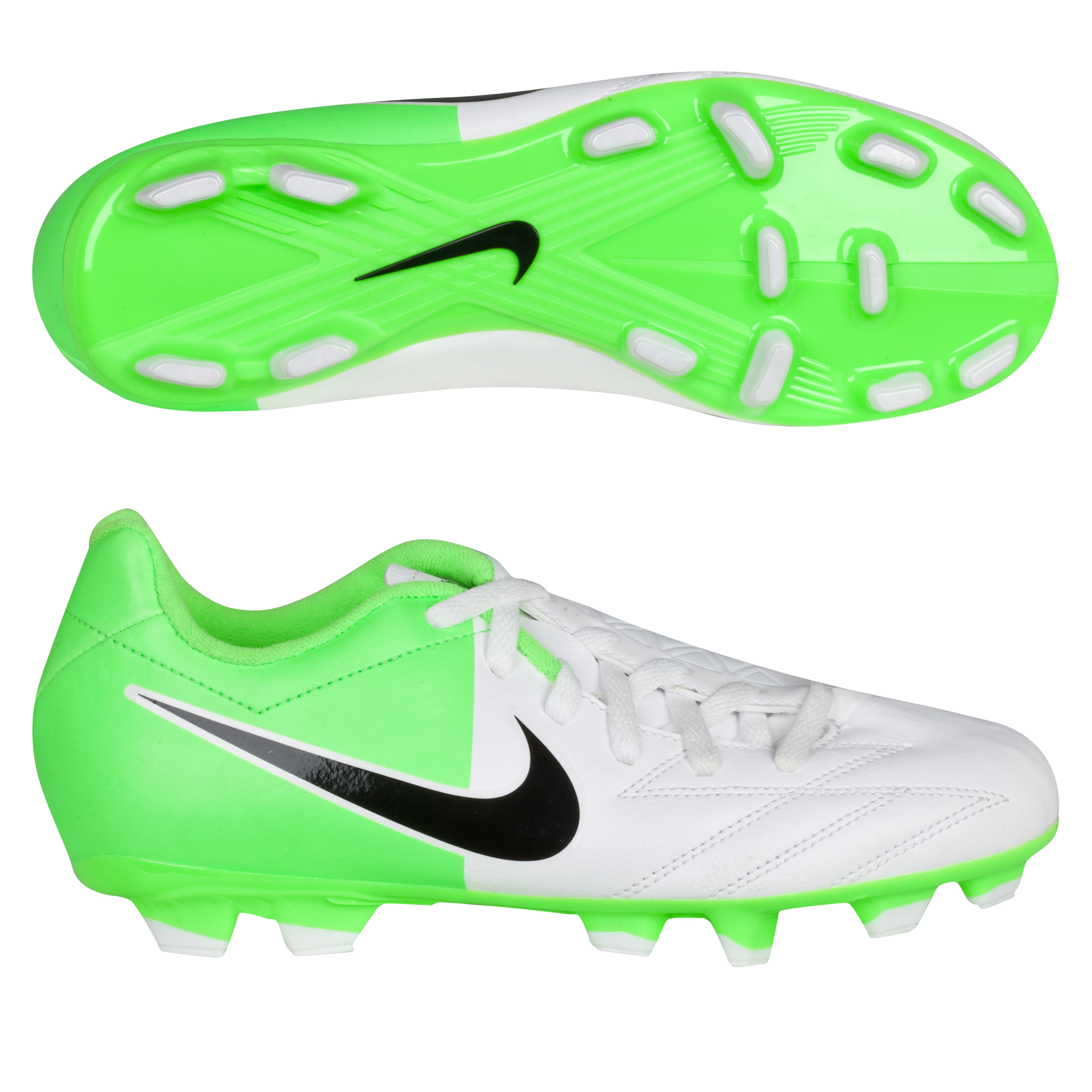Nike Total90 Shoot Iv Firm Ground Football Boots - White/black/electric Green - Kids