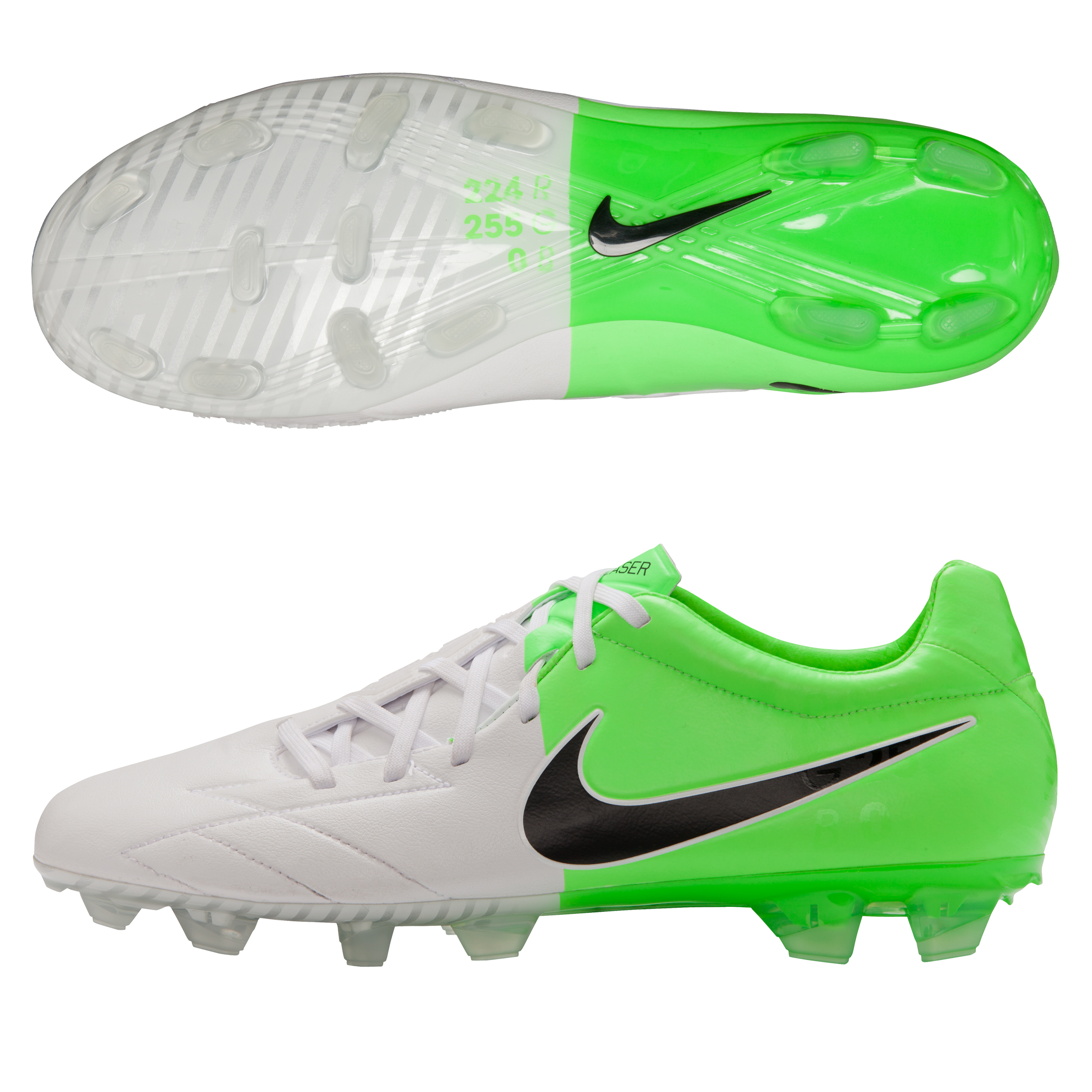 Nike Total90 Laser IV KL Firm Ground Football Boots - White/Black/Electric Green