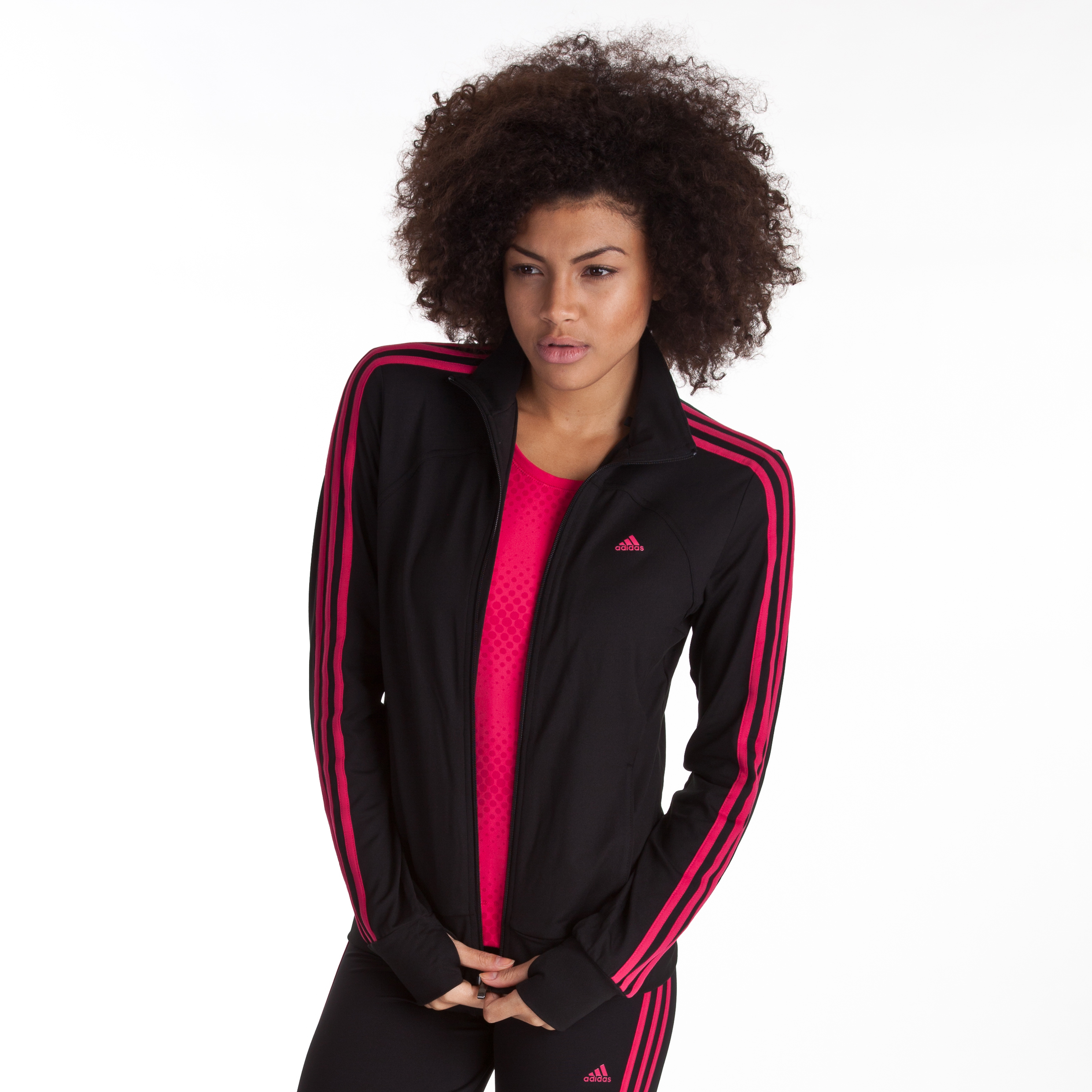 Adidas Multifunctional Essential 3 Stripe Tracktop - Black/Bright Pink - Womens