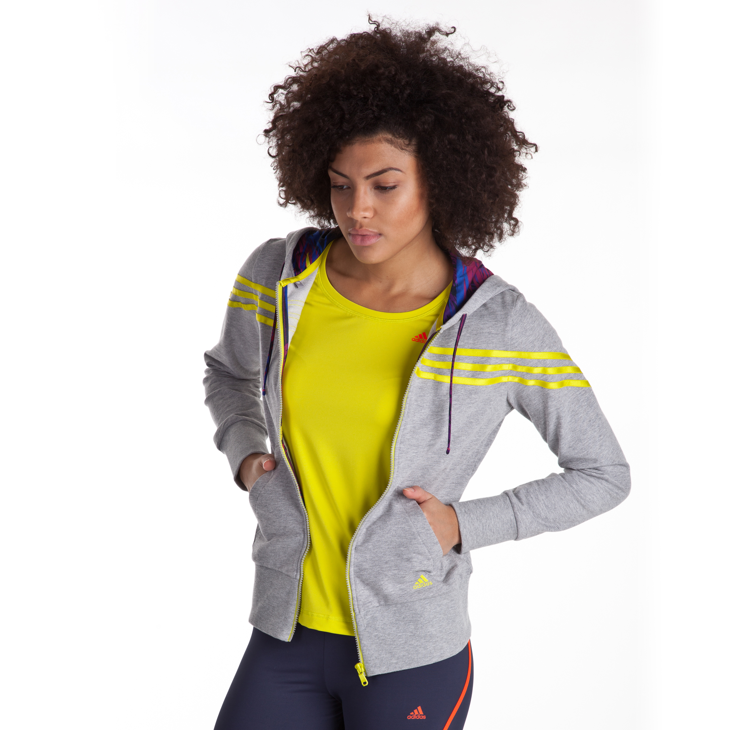 Adidas Icon 3 Stripe Hooded Track Top - Medium Grey Heather - Womens