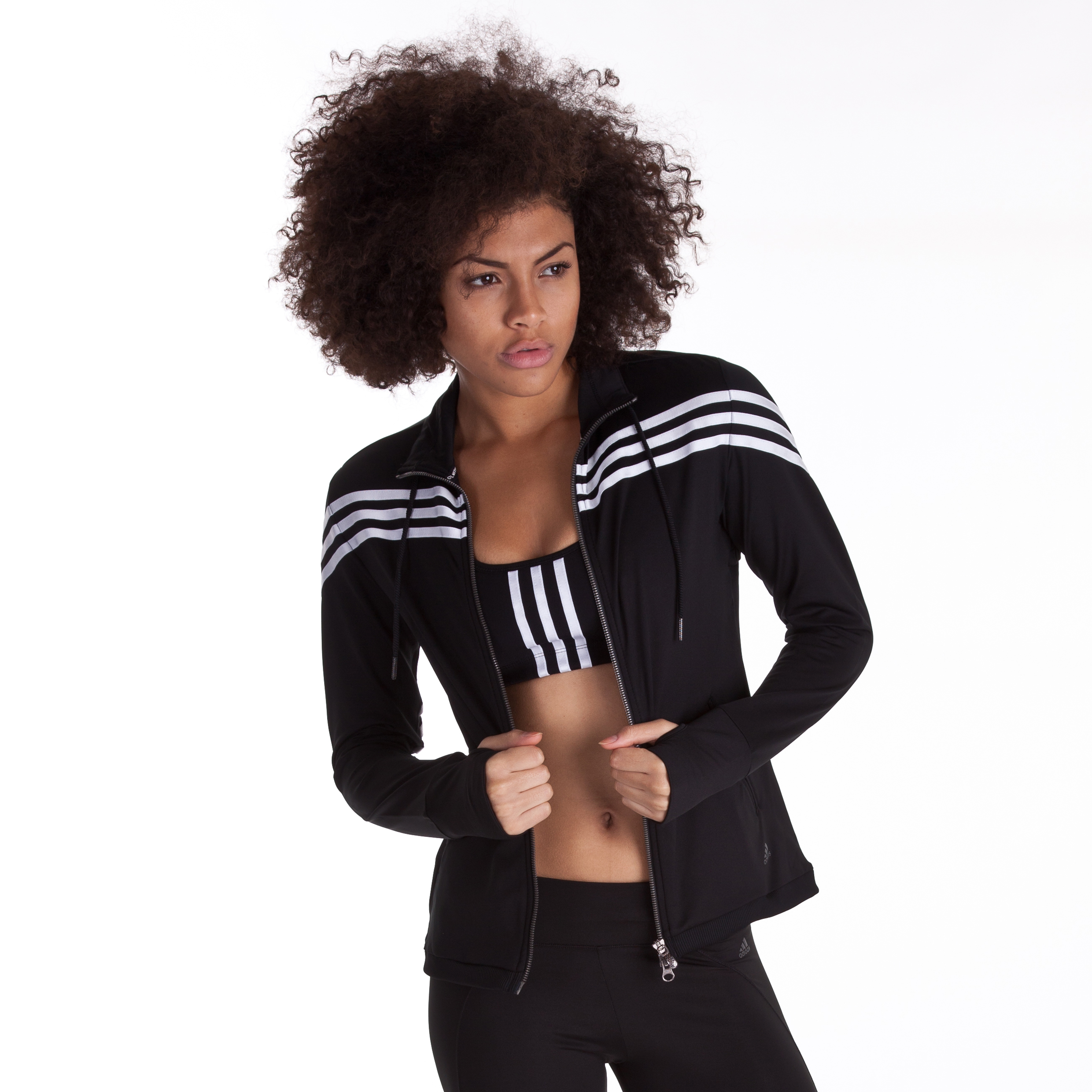 Adidas CLIMACOOL Training 3 Stripe Track Top - Black/White - Womens