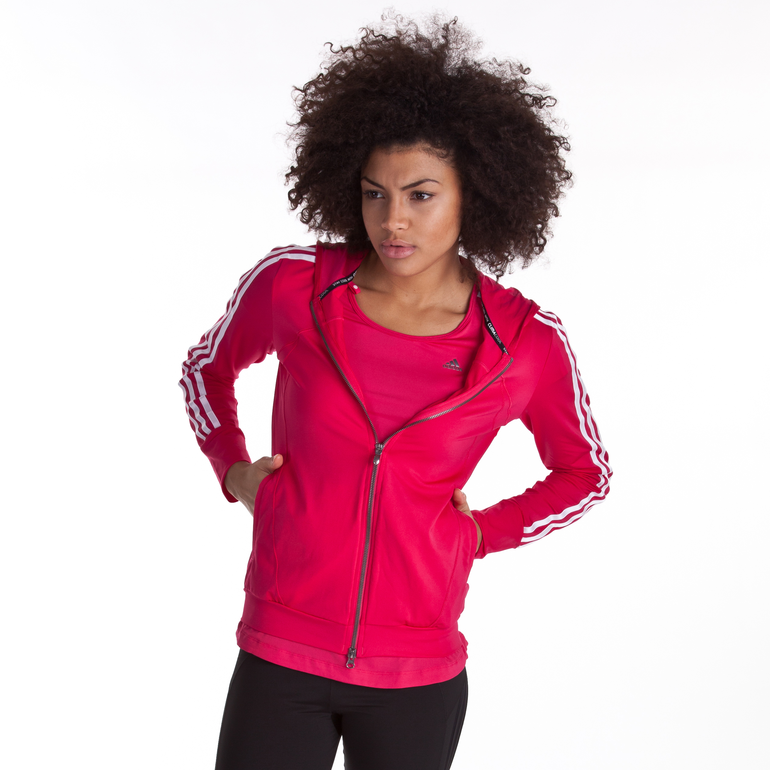 Adidas CLIMACOOL Training Core Hooded Track Top - Bright Pink - Womens