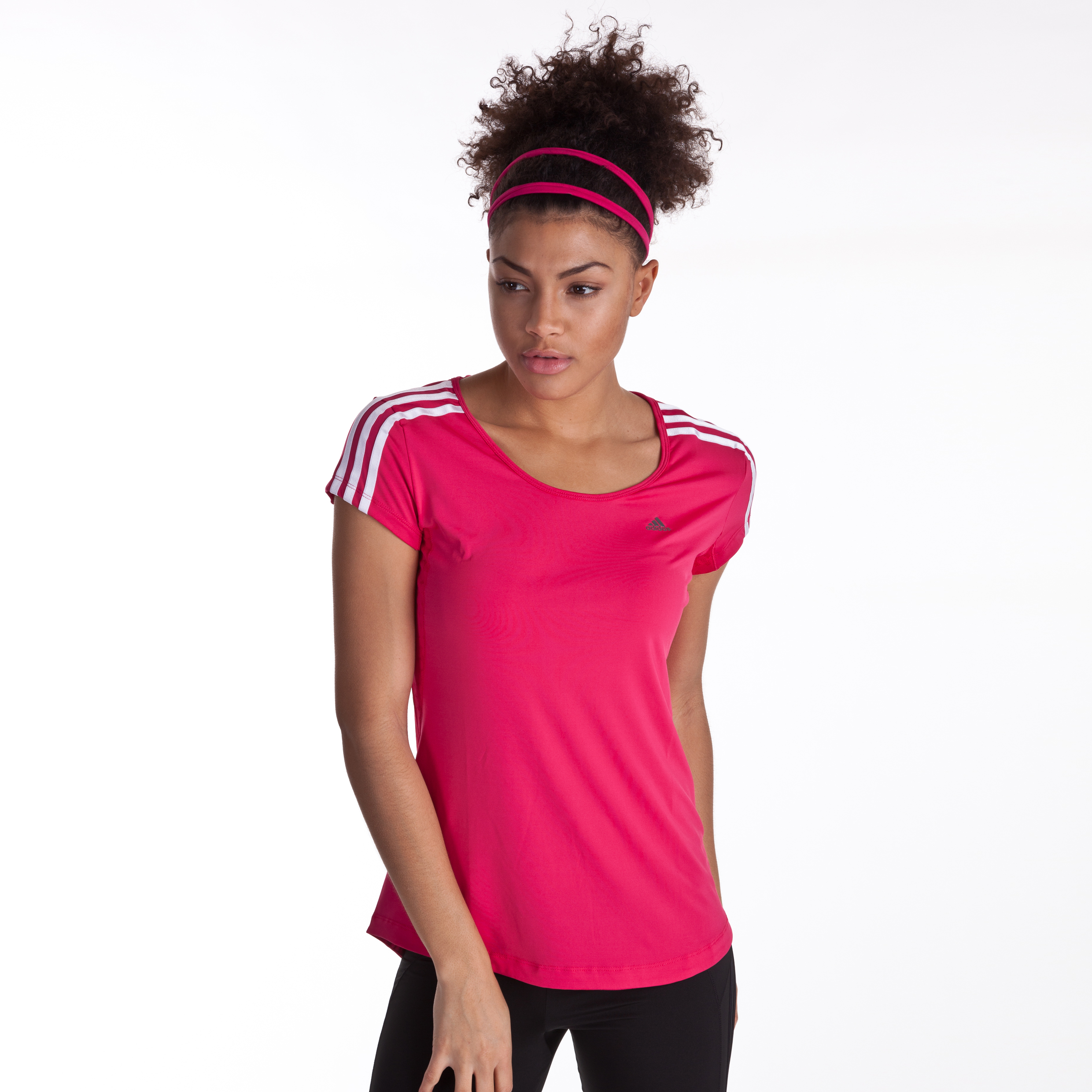 Adidas CLIMACOOL Training 3 Stripe Training Tee - Bright Pink - Womens