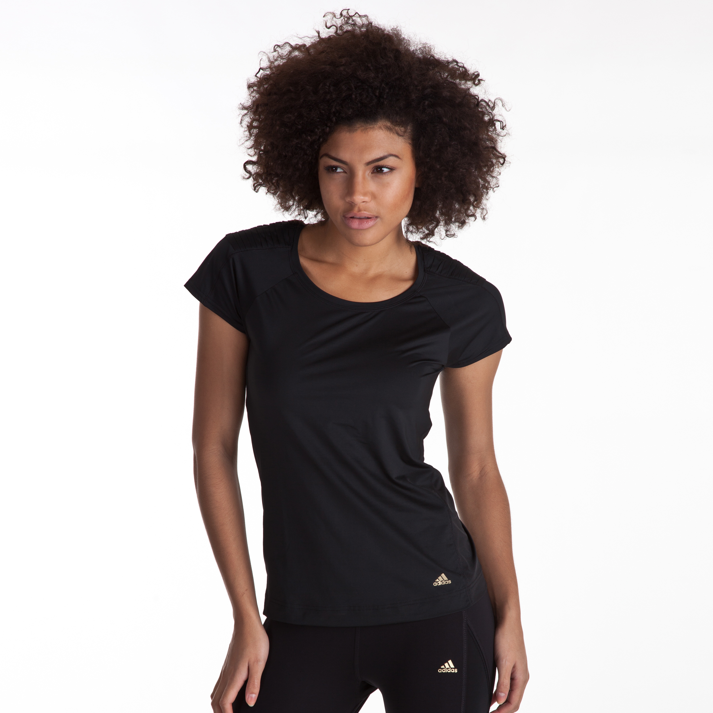 Adidas Studio Power Theme Tee - Black - Womens