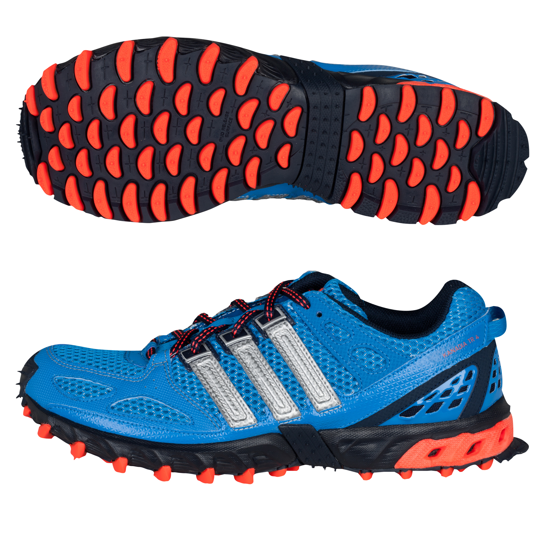 Adidas Kanadia 4 TR Running Trainers - Bright Blue/Metallic Silver/Infrared