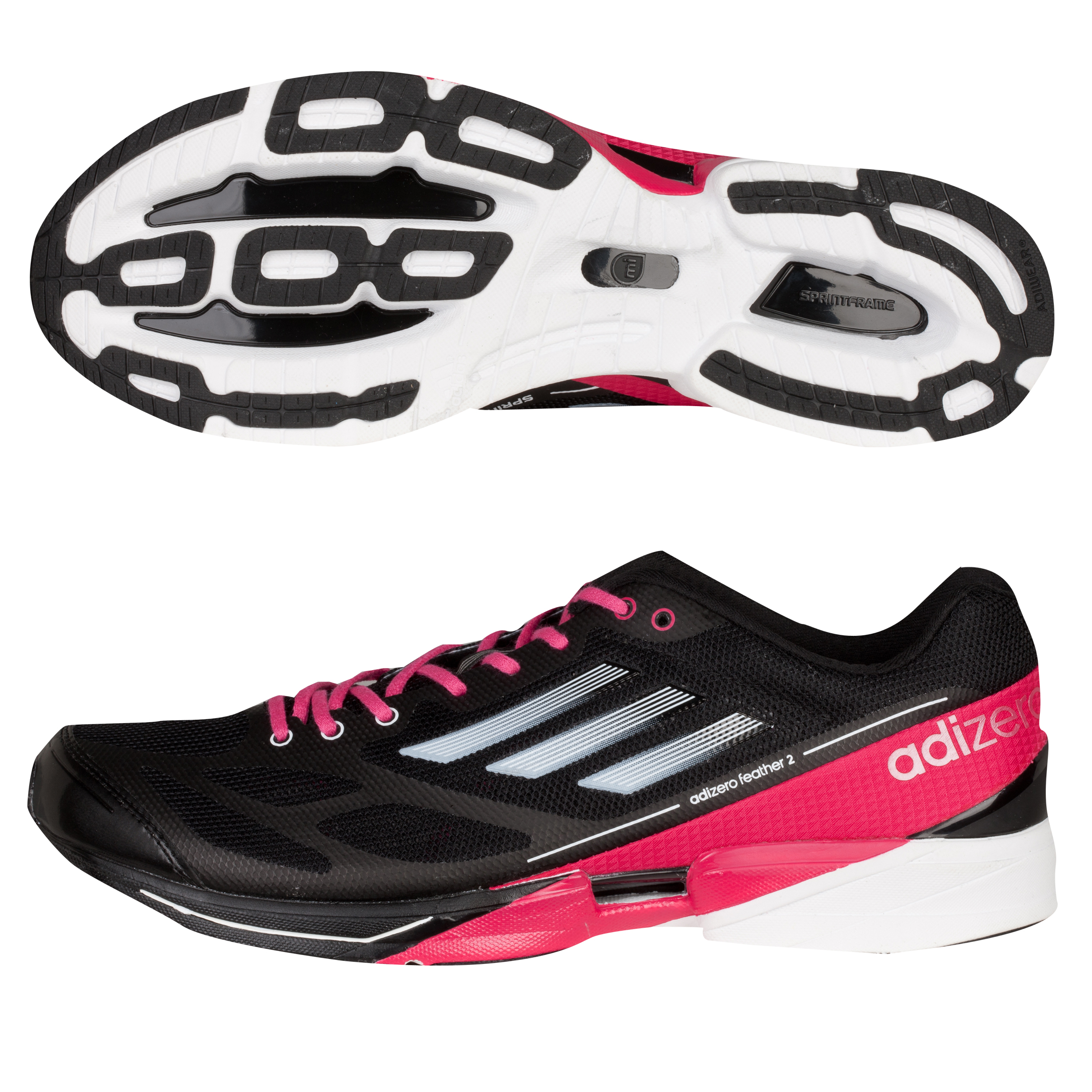 Adidas Adizero Feather 2 Running Trainers - Black/Running White/Bright Pink - Womens