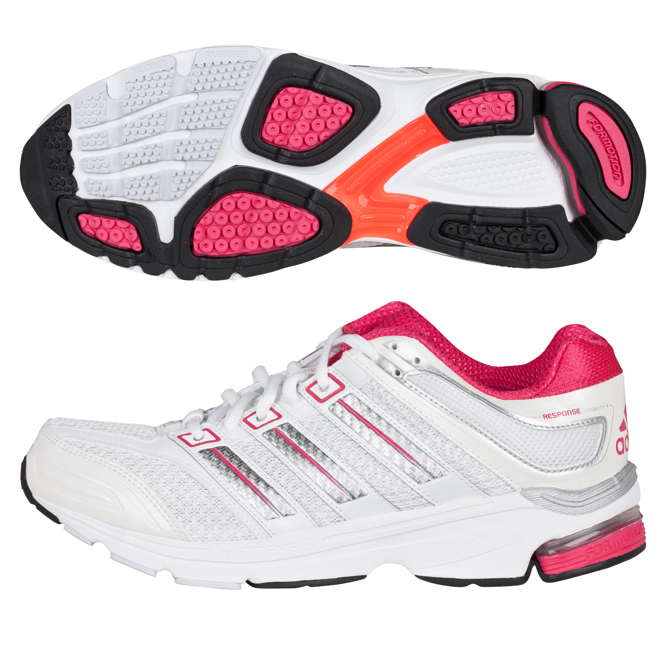 Adidas Response Stabilty 4 Running Trainers - Running White/Metallic Silver/Bright Pink - Womens