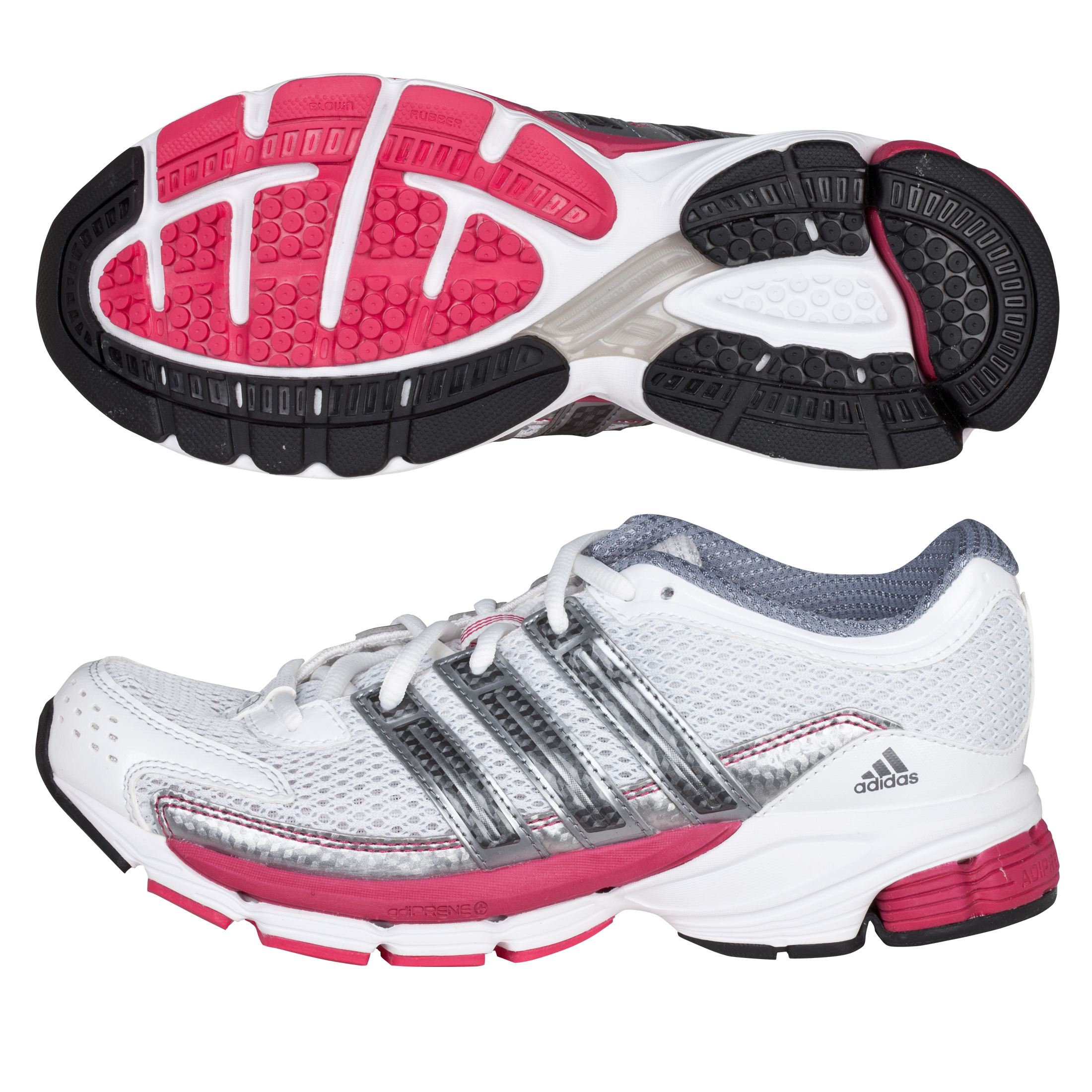 Adidas Questar Cushion Trainers - White/Neo Iron Met/Bright Pink - Womens