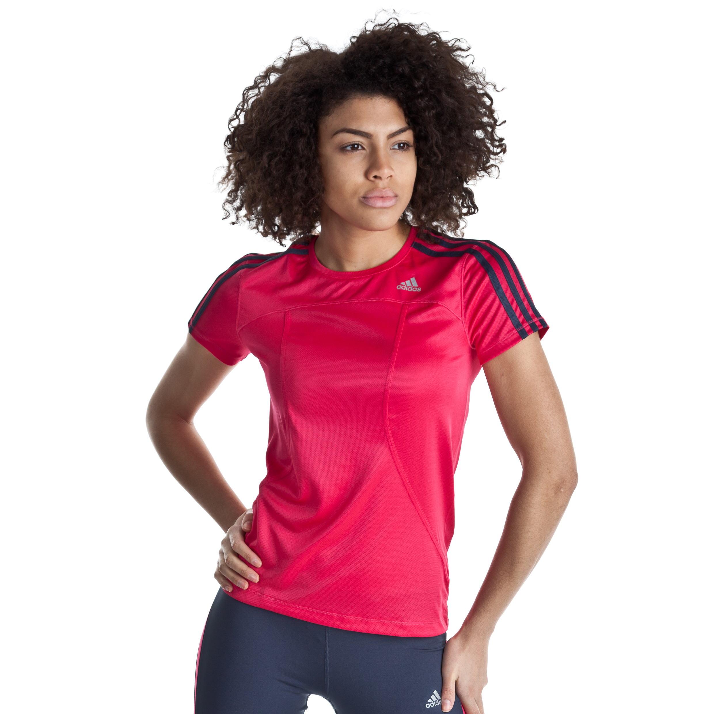 Adidas Response DS T-Shirt - Bright Pink/Urban Sky - Womens