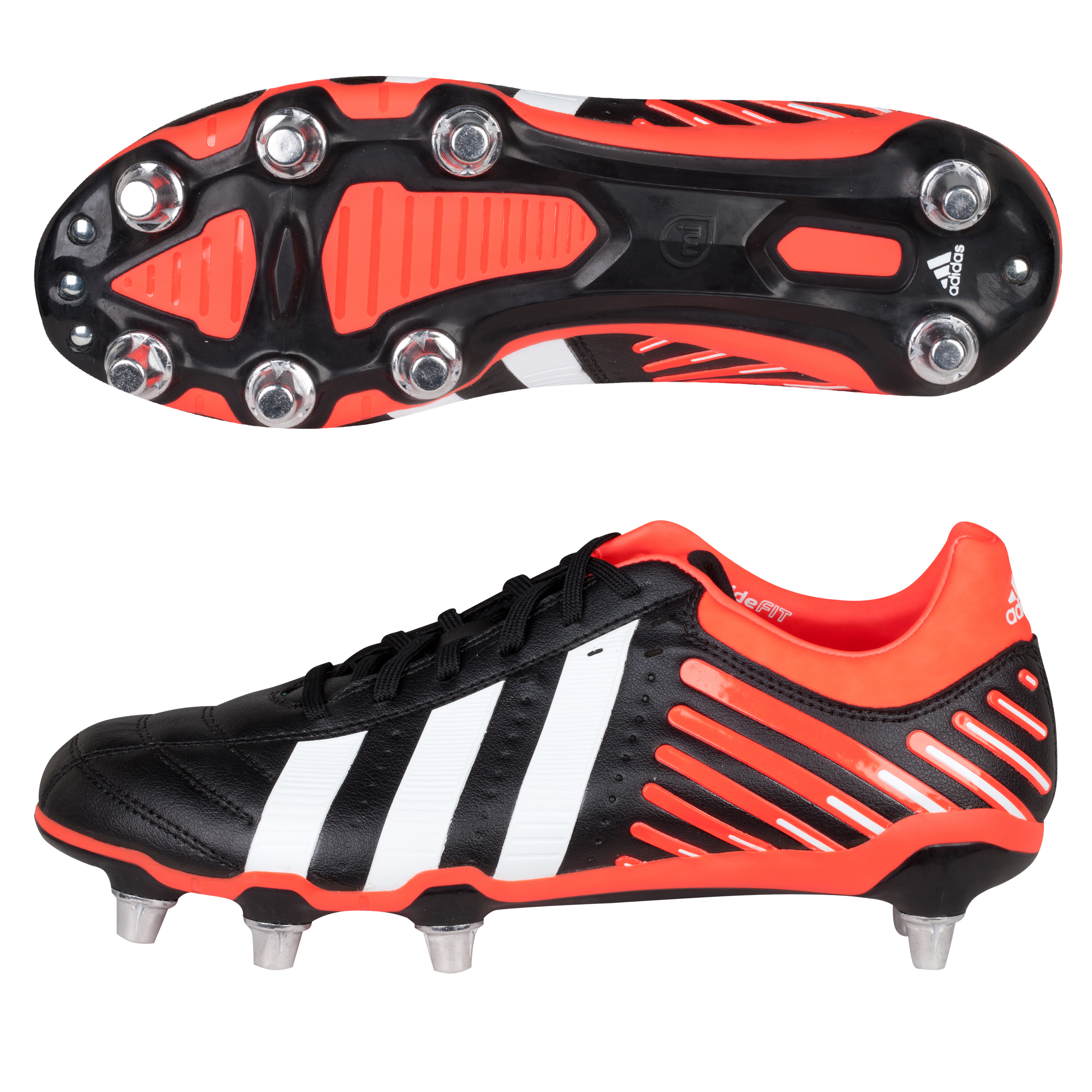 Adidas Adipower Kakari Soft Ground Rugby Boots - Black/Running White/Infrared