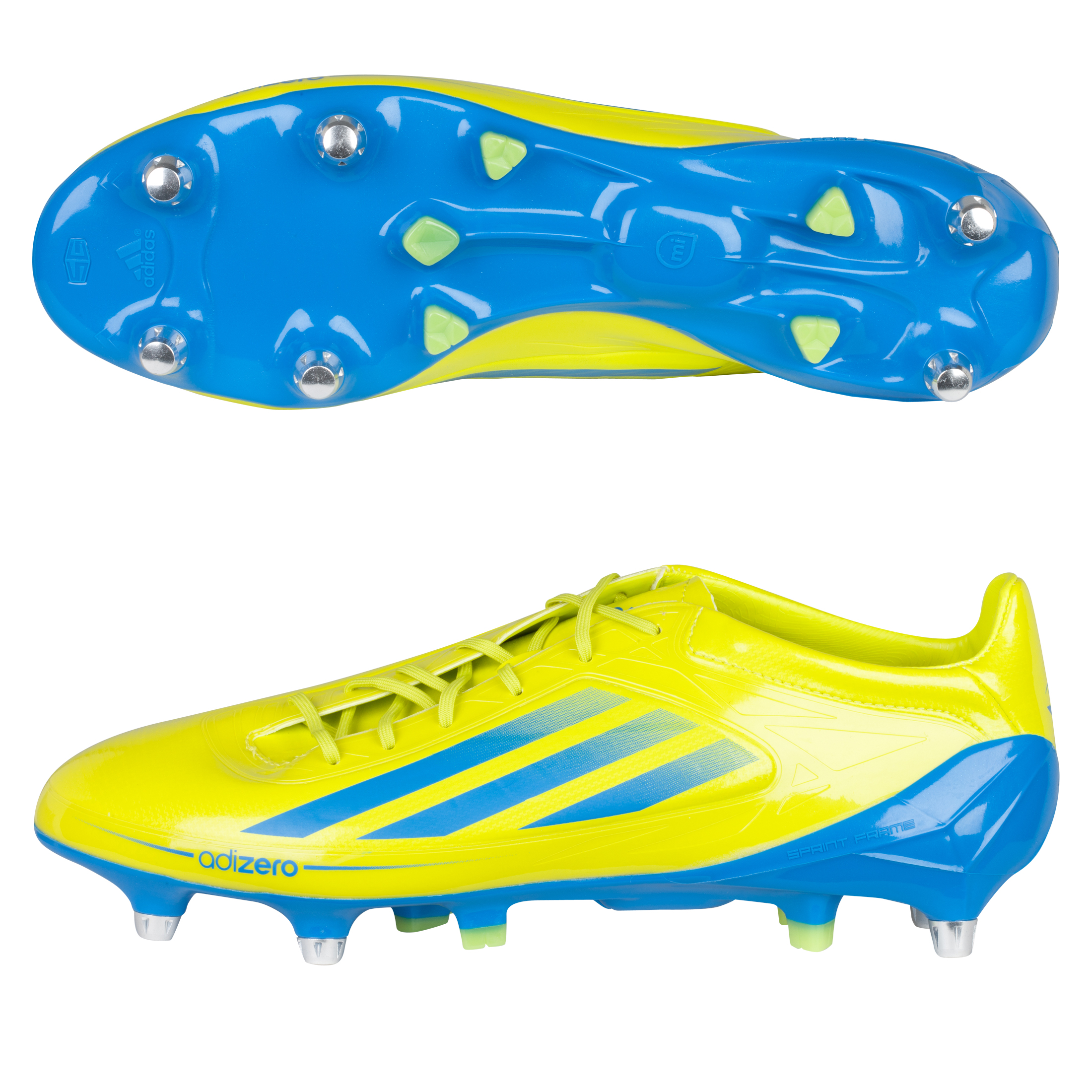 Adidas Adizero RS7 Pro II XTRX Soft Ground Rugby Boots - Lab Lime/Bright Blue