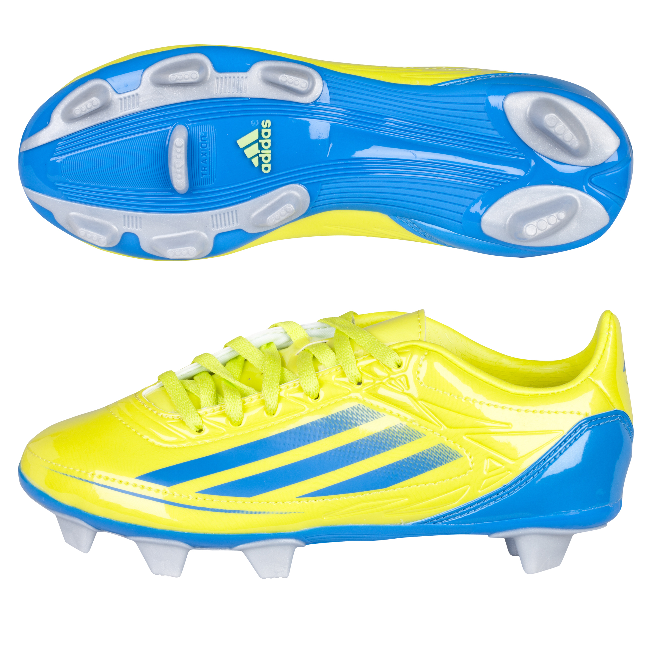 Adidas RS7 II TRX Soft Ground Rugby Boots - Lab Lime/Bright Blue - Kids