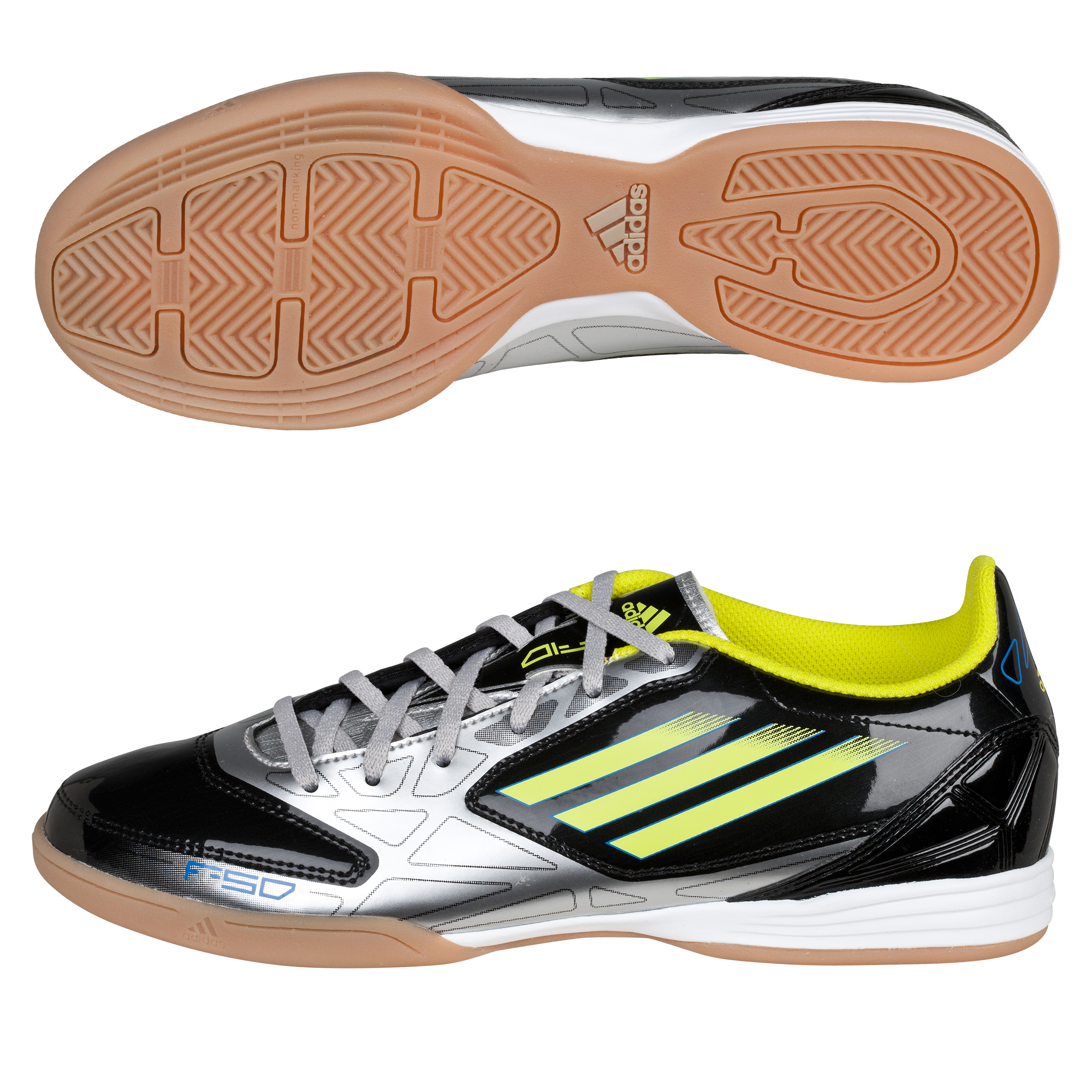 Adidas F10 Indoor Trainers - Black/Lab Lime/Metallic Silver