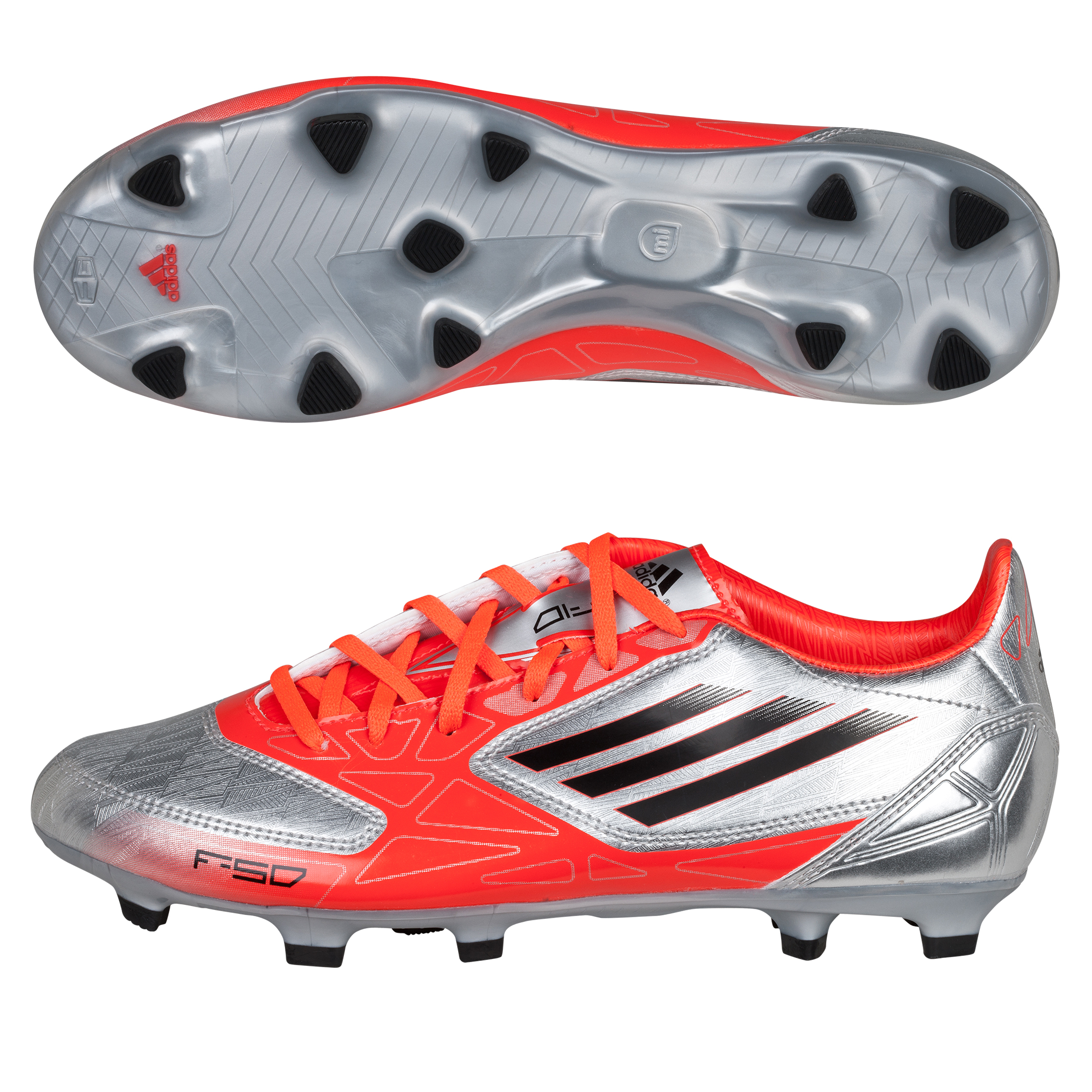Adidas F10 TRX Firm Ground Football Boots - Metallic Silver/Black/Infrared