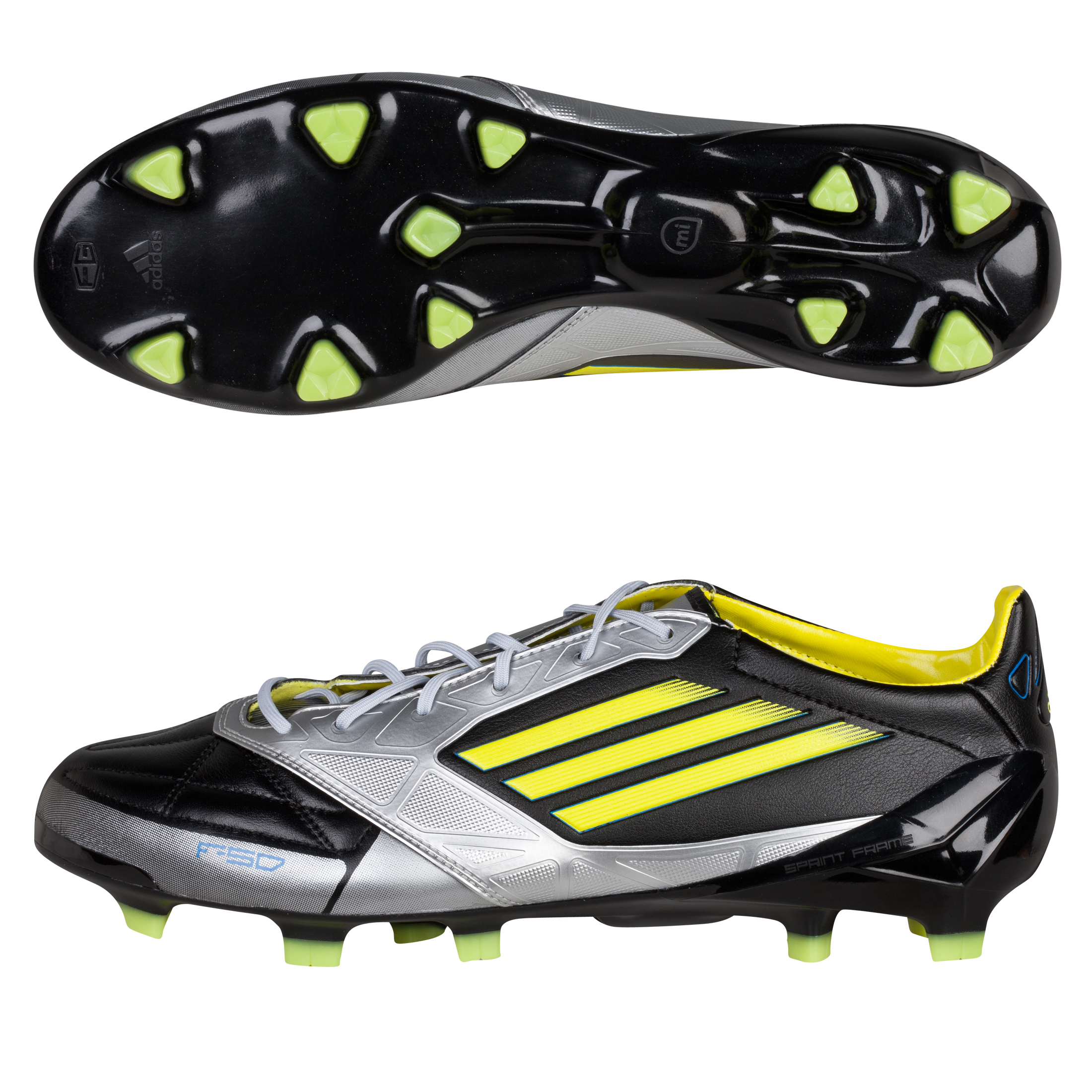 Adidas F50 Adizero TRX Firm Ground Leather Football Boots - Black/Lab Lime/Metallic Silver