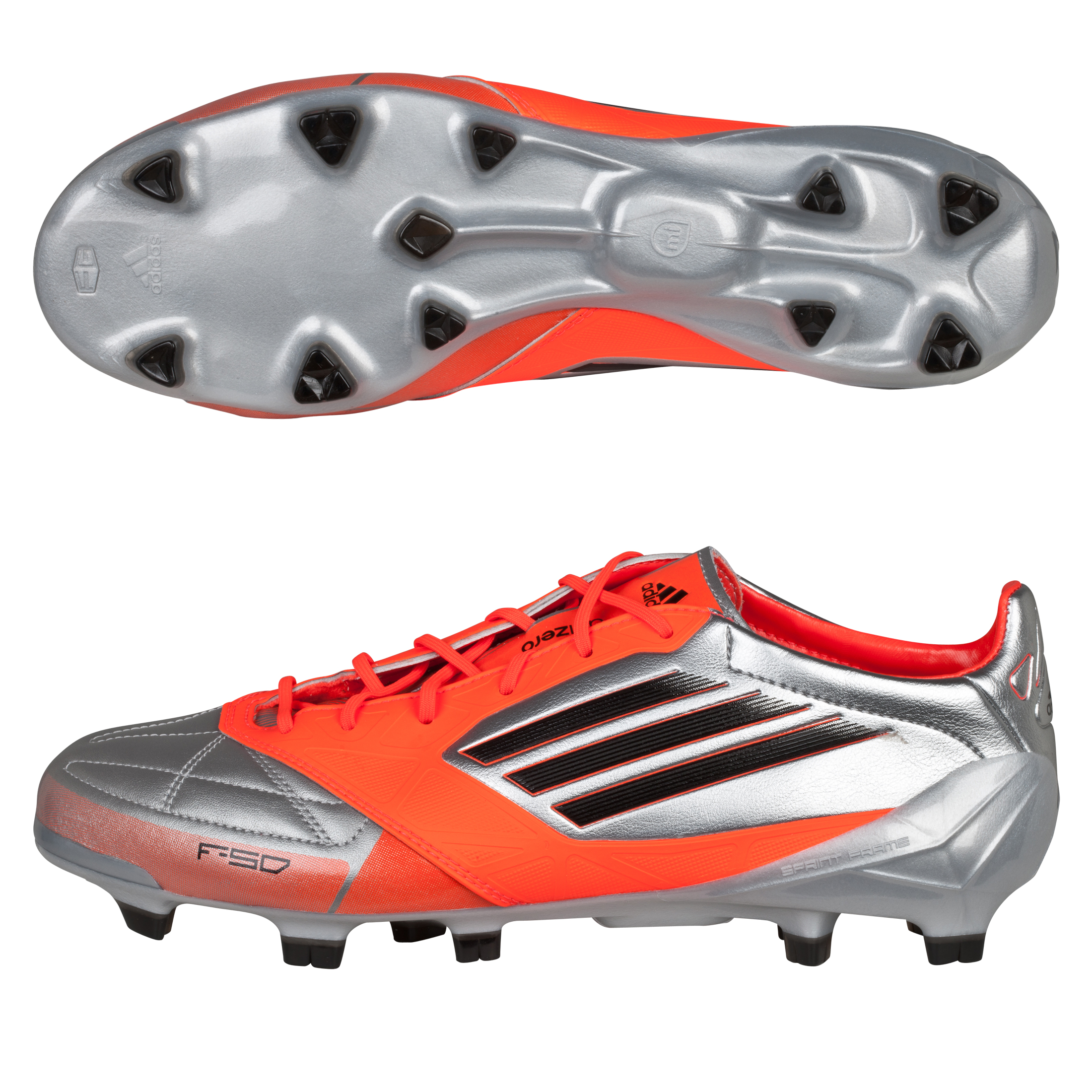 Adidas F50 Adizero TRX Firm Ground Leather Football Boots - Metallic Silver/Black/Infrared