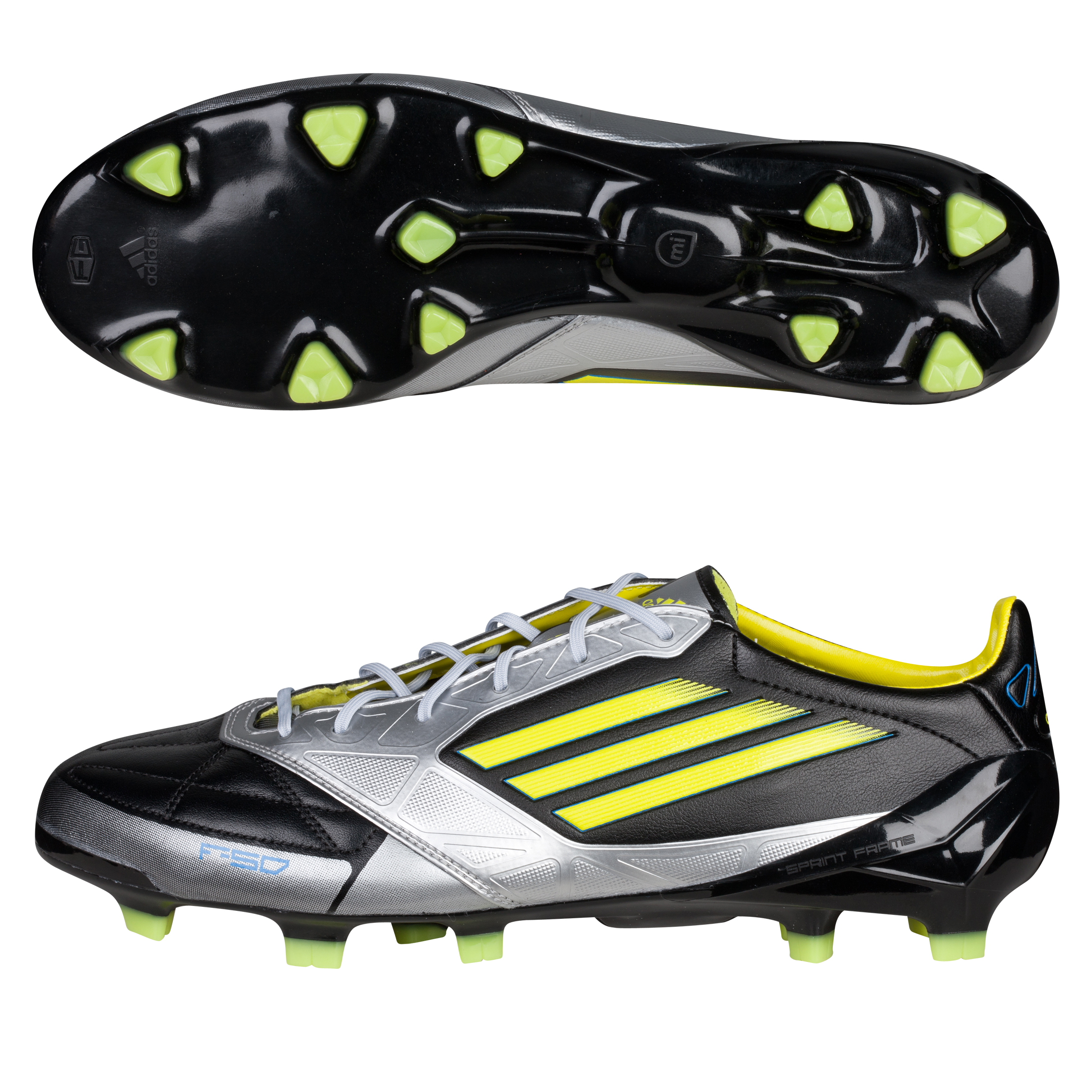 Adidas F50 Adizero TRX Firm Ground Leather miCoach Bundle - Black/Lab Lime/Metallic Silver