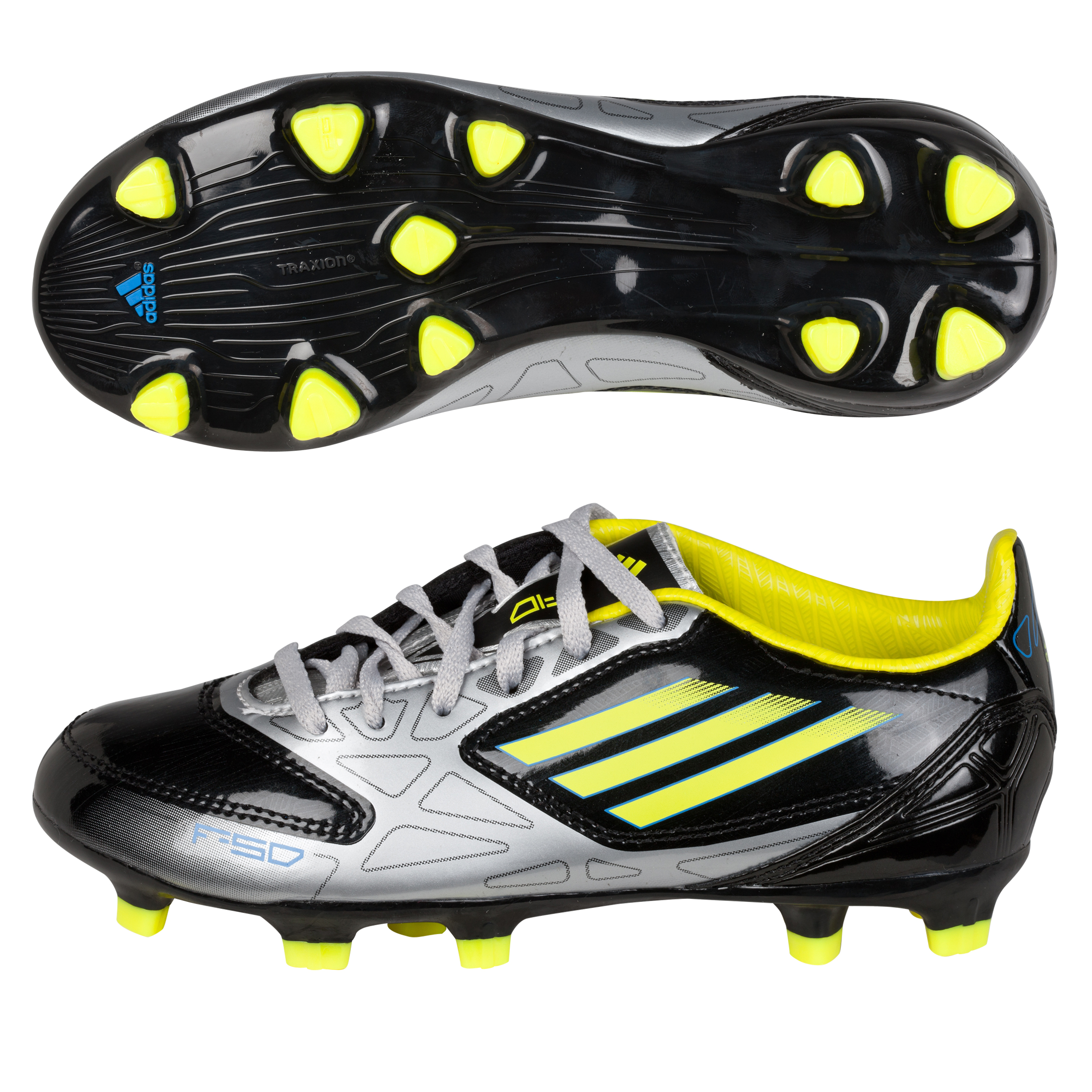 Adidas F10 TRX Firm Ground Football Boots - Black/Lab Lime/Metallic Silver - Kids
