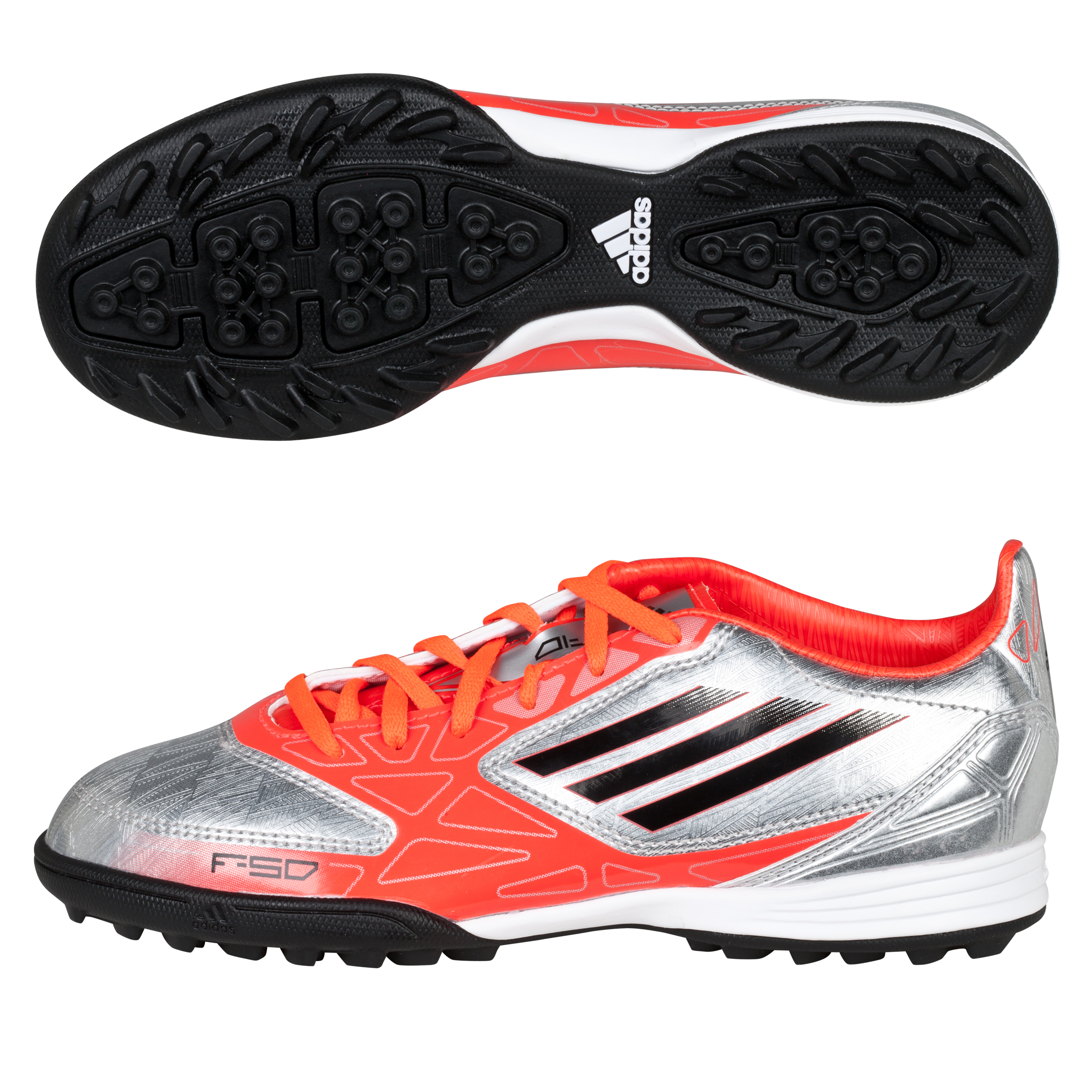 Adidas F10 TRX Astro Turf Trainers - Metallic Silver/Black/Infrared - Kids