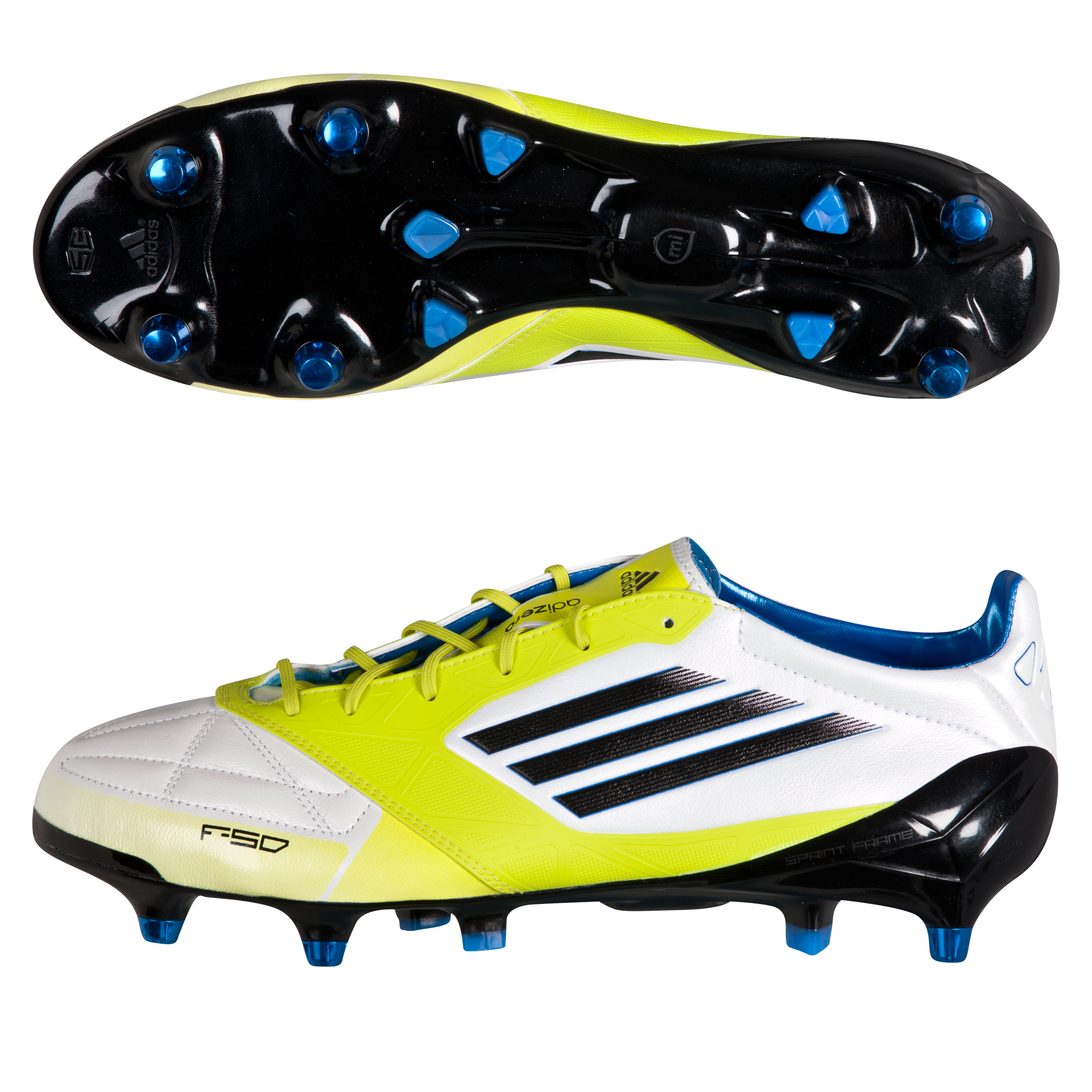 Adidas F50 Adizero XTRX Soft Ground Leather Football Boots - White/Black/Lab Lime
