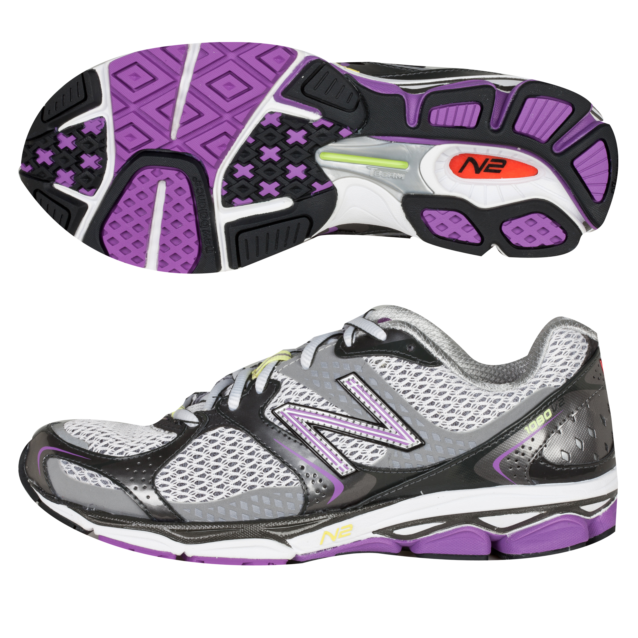 New Balance 1080V2 Running Trainers - Lilac/Silver - Womens