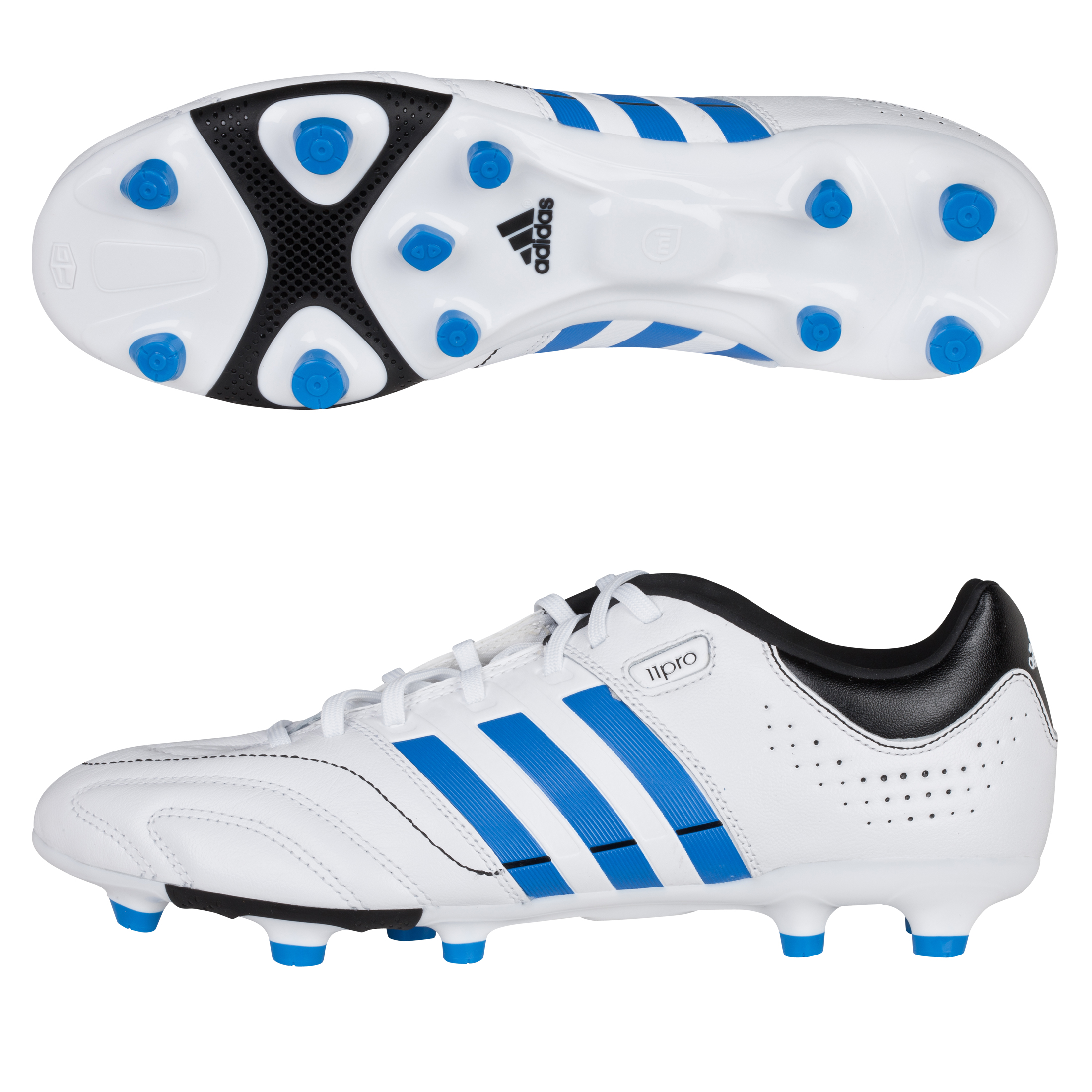 Adidas 11Core TRX Firm Ground Football Boots - White/Bright Blue/Black