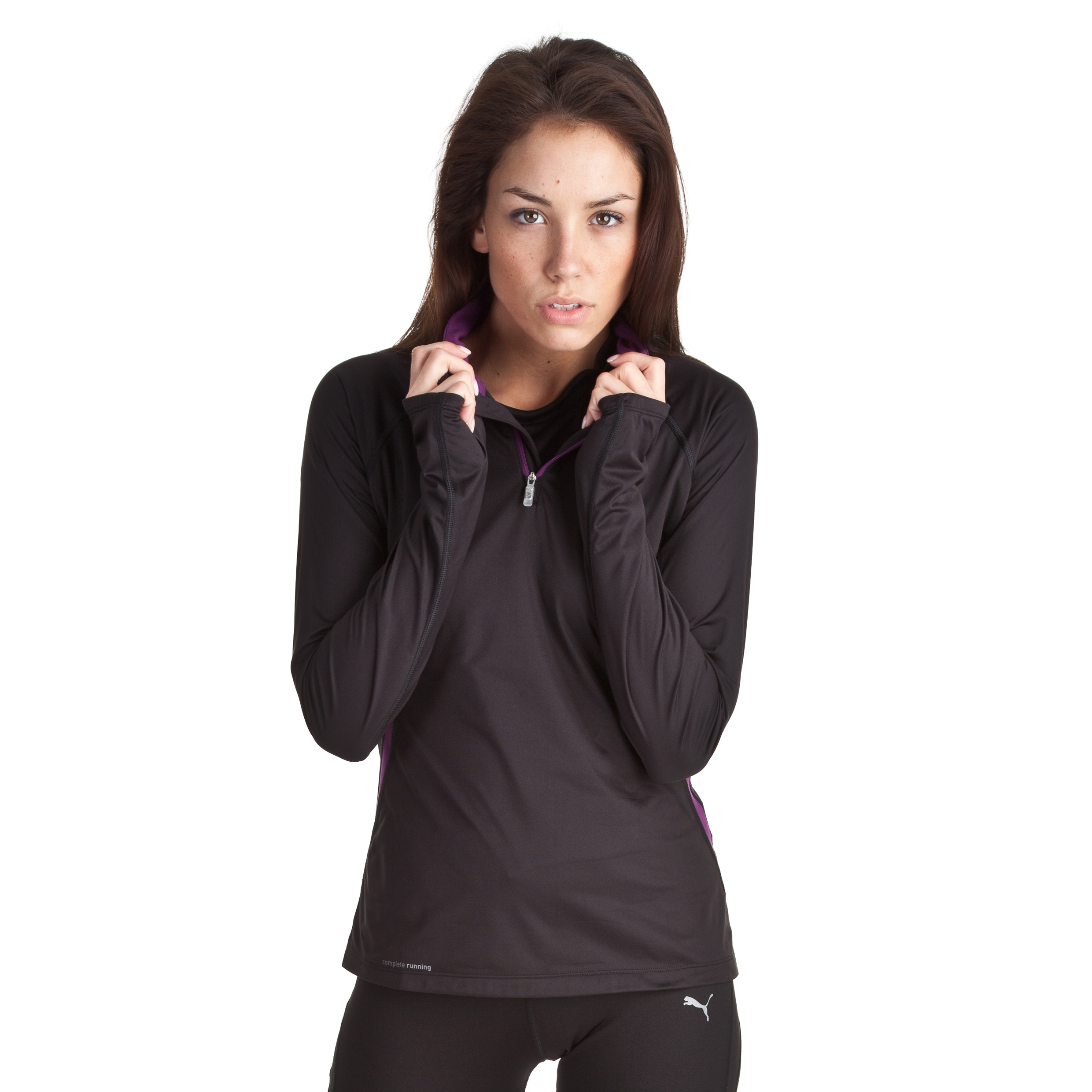 Puma Essentials Half Zip Top - Long Sleeve - Black - Womens