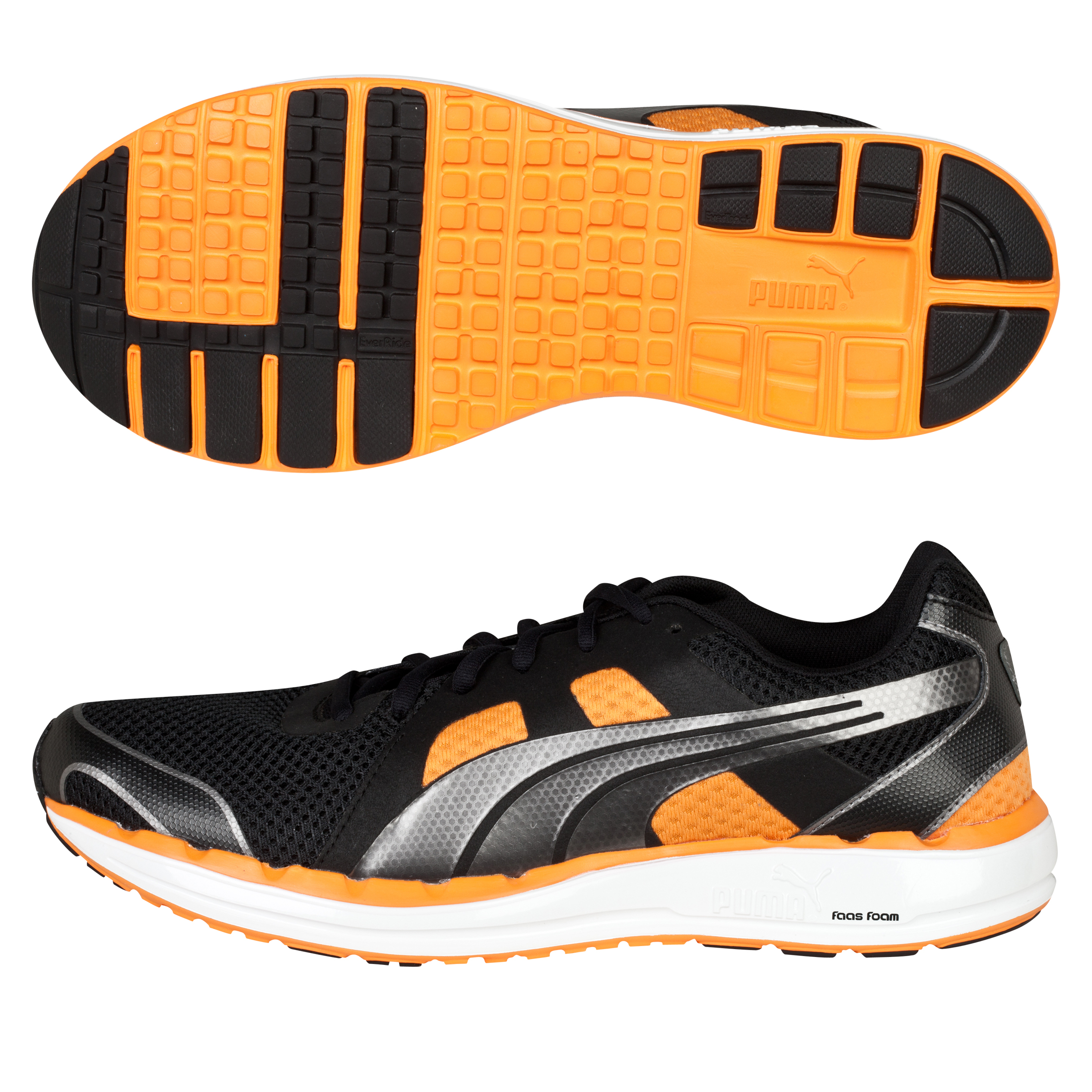 Puma Faas 550 NM Running Trainers - Black/Aged Silver/Flame Orange