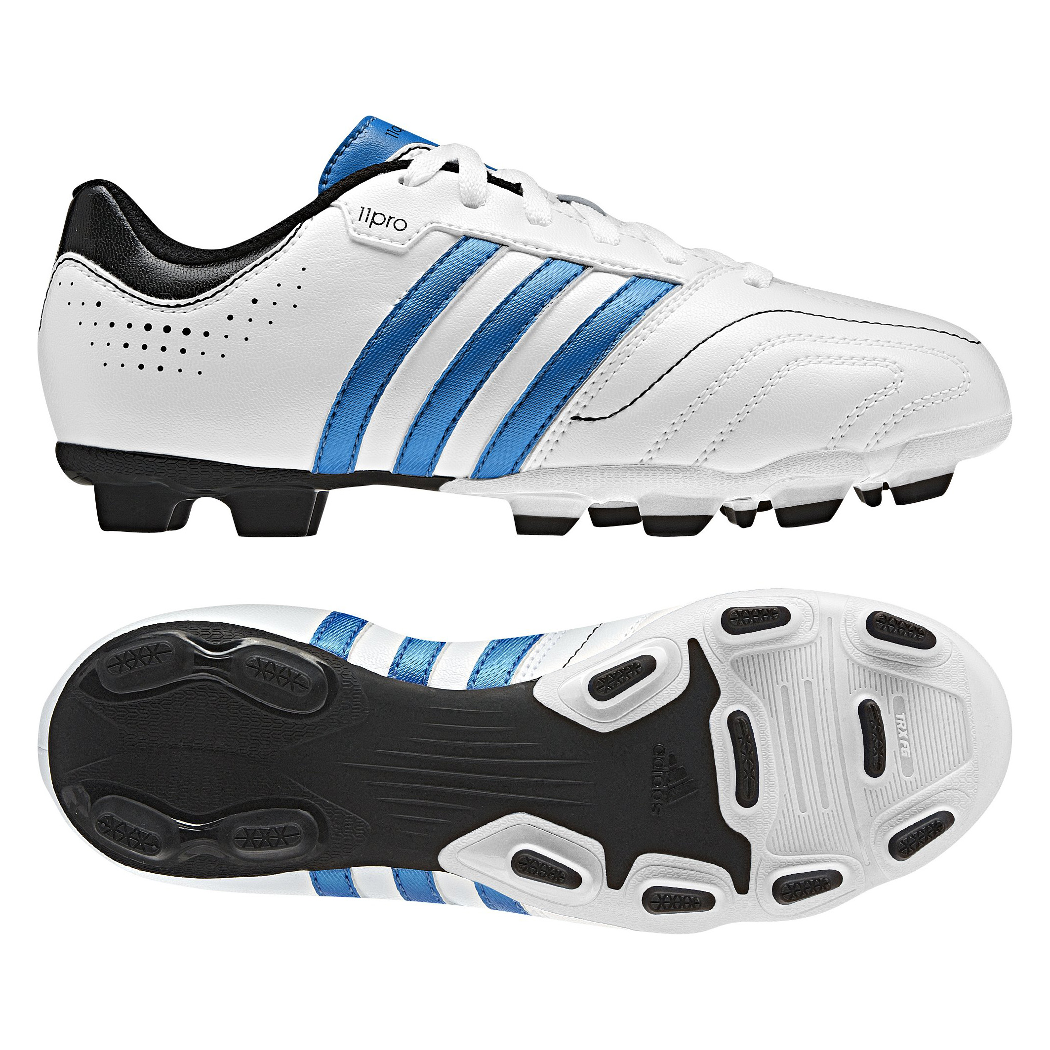 Adidas 11Questra TRX Firm Ground Football Boots - White/Bright Blue/Black - Kids