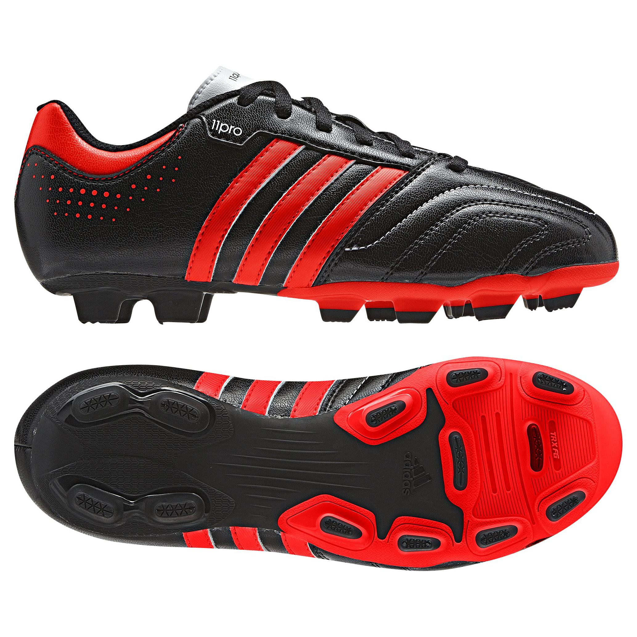 Adidas 11Questra TRX Firm Ground Football Boots - Black/Infrared/Running White - Kids