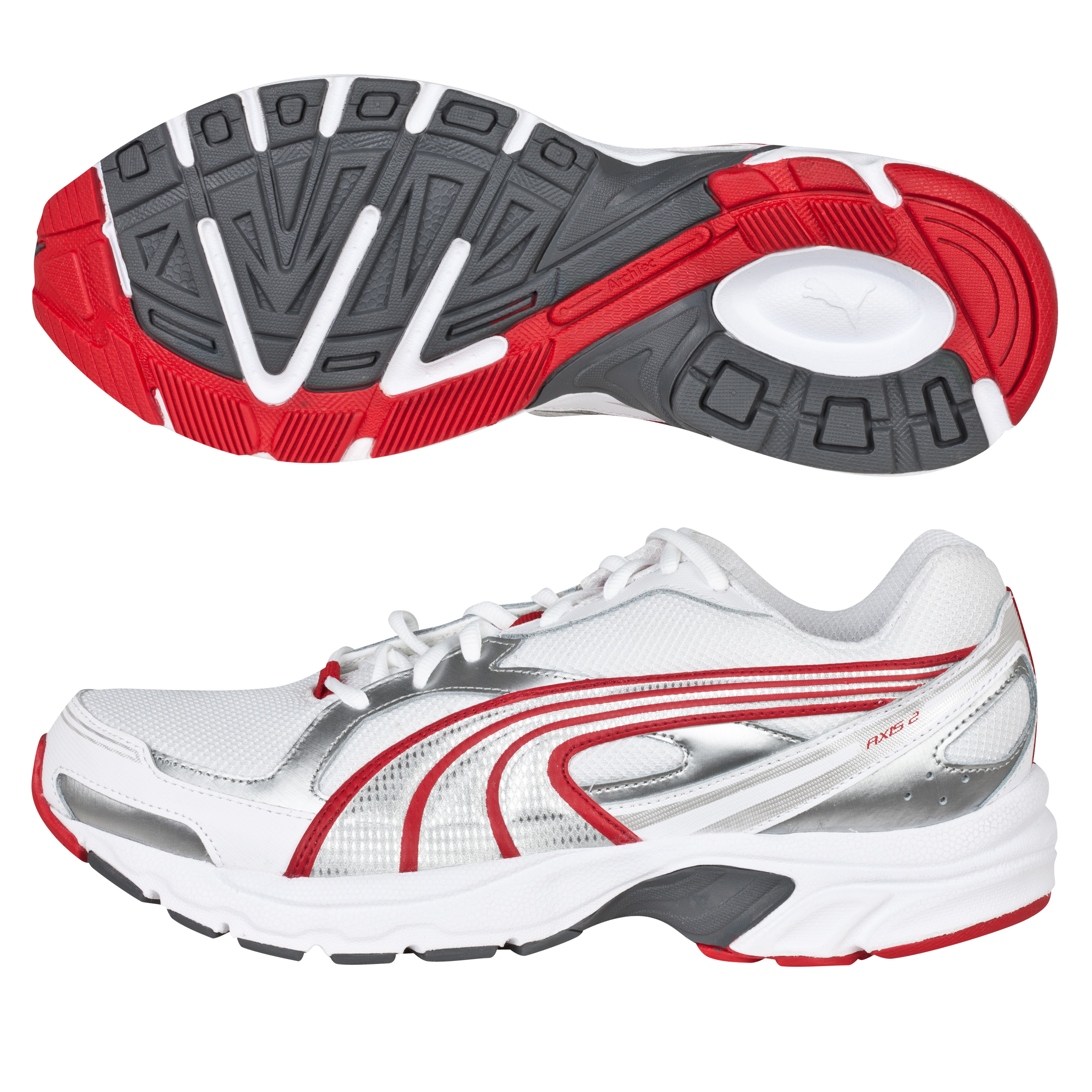 Puma Axis 2 Running Trainers - White/Puma Silver/Ribbon Red