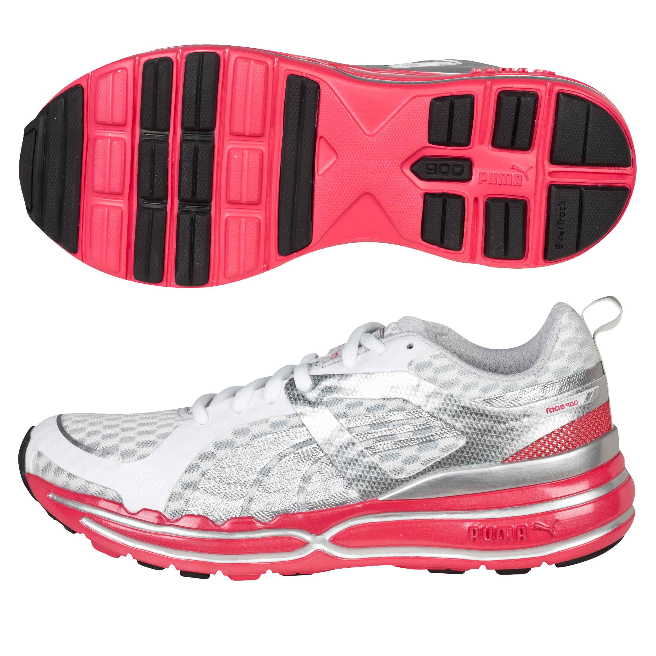 Puma Faas 900 Cushion Running Trainers - White/Puma Silver/Teaberry Red - Womens